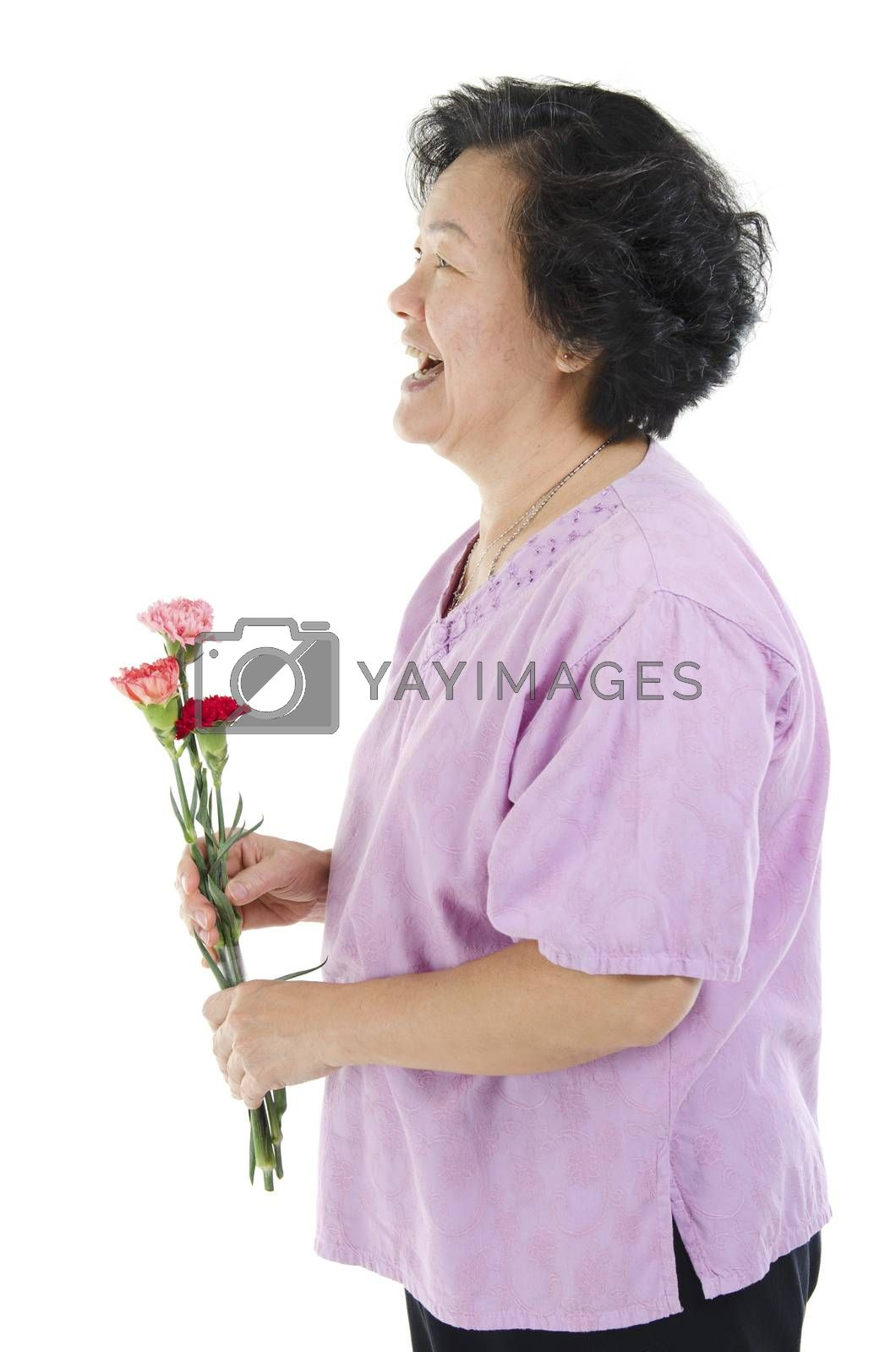 Happy mothers day concept. Profile view of 60s Asian senior adult woman hand holding carnation flower gift and smiling, isolated on white background.