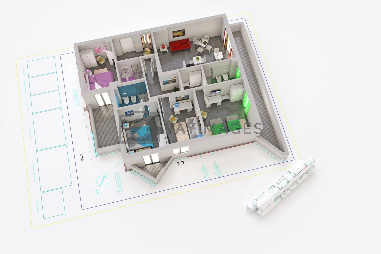 3d illustration of a modern and furnished apartment extruded from an architecture plan