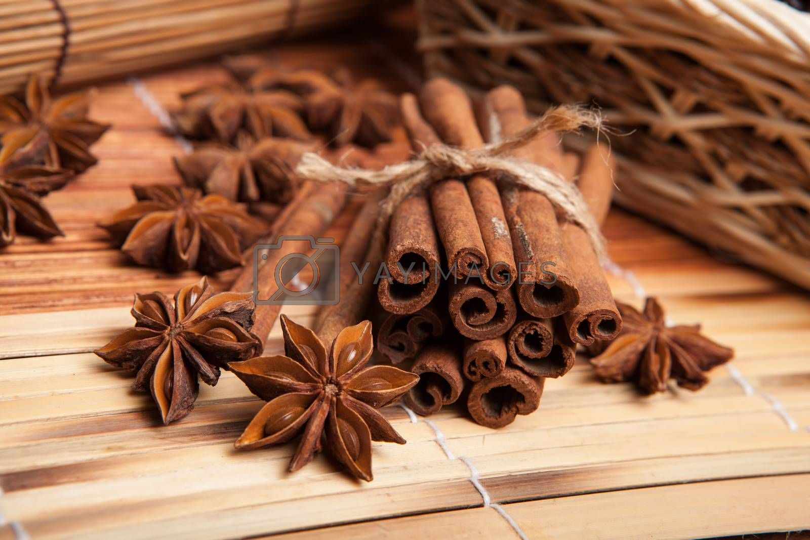 Royalty free image of Cinnamon and star anise  by mizar_21984