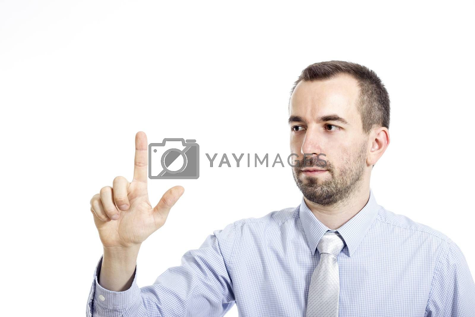 Young buinessman touching - isolated on white