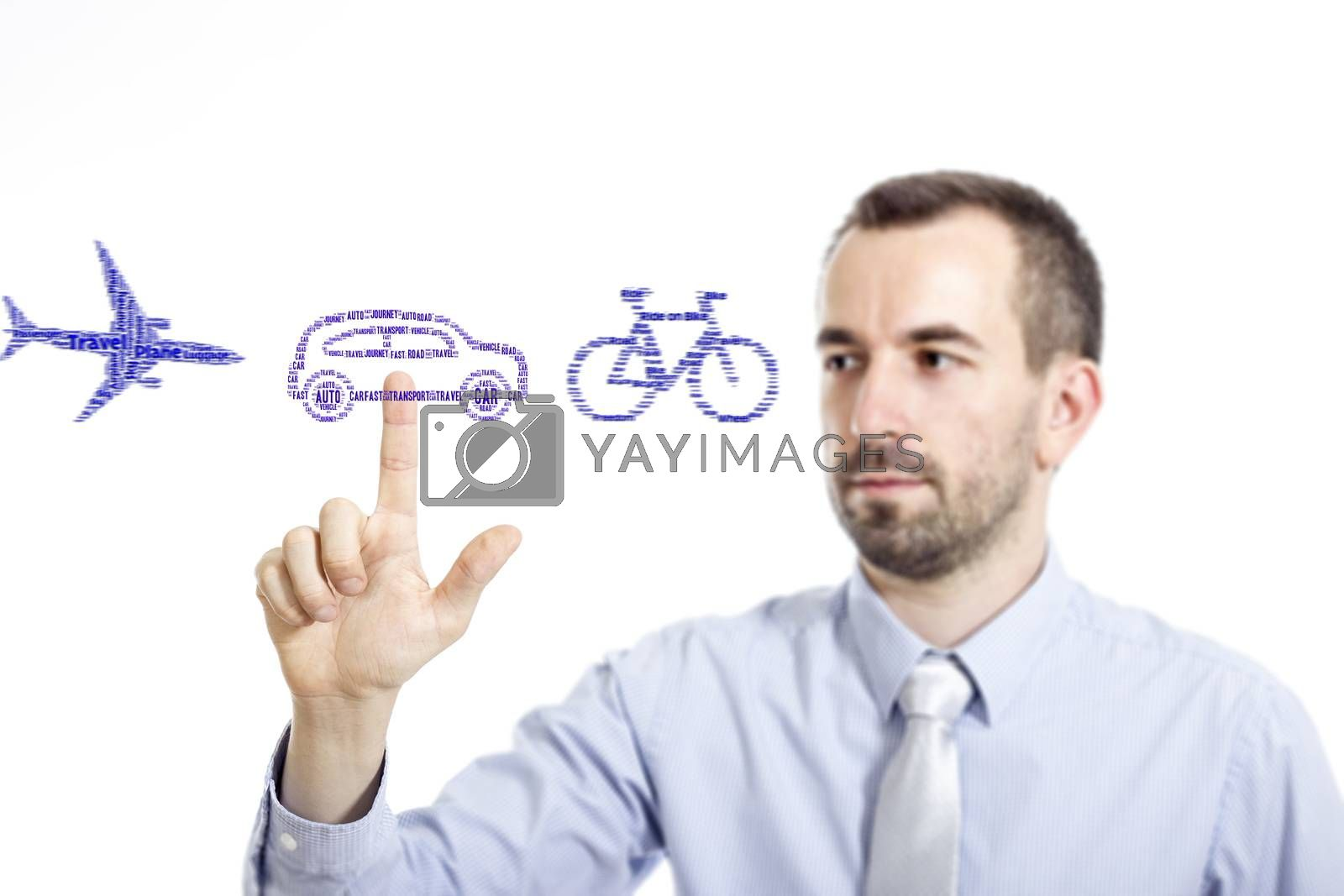 Young buinessman select transport mode word cloud - isolated on white background