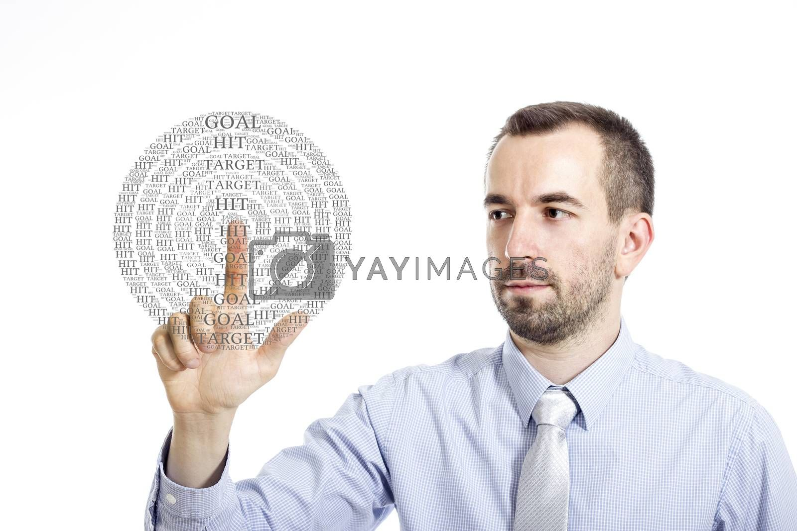 """Young buinessman touching """"Hit the Target"""" word cloud - isolated on white background"""