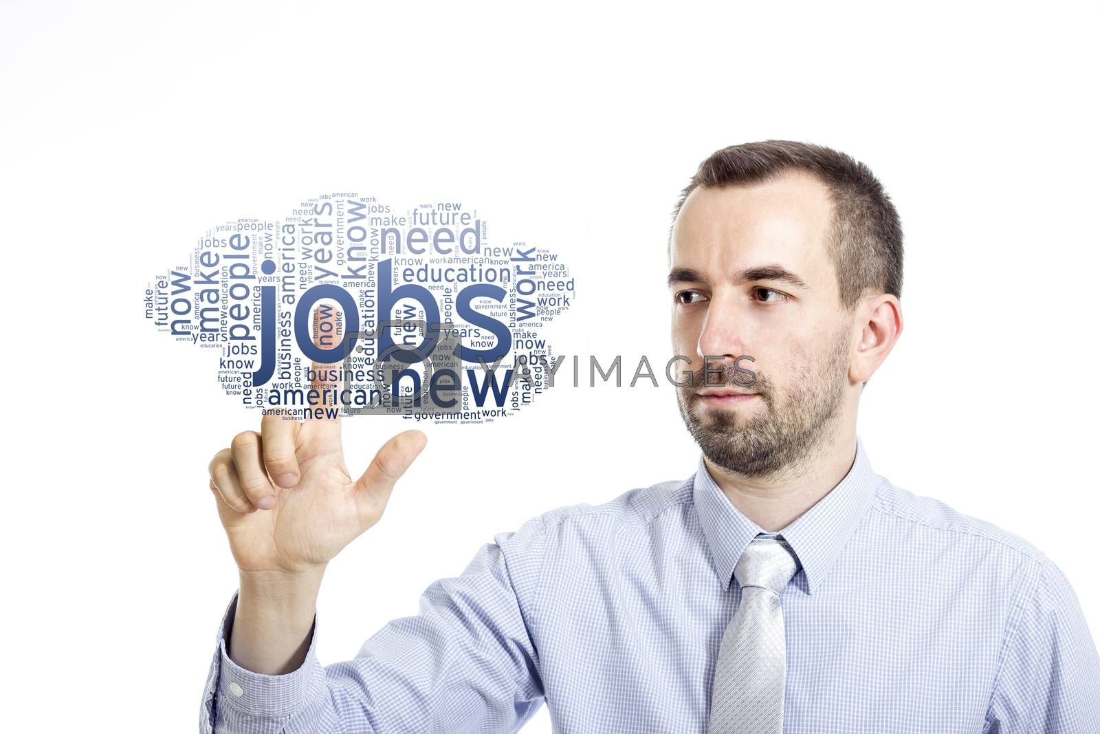 """Young buinessman touching """"New Jobs"""" word cloud - isolated on white background"""
