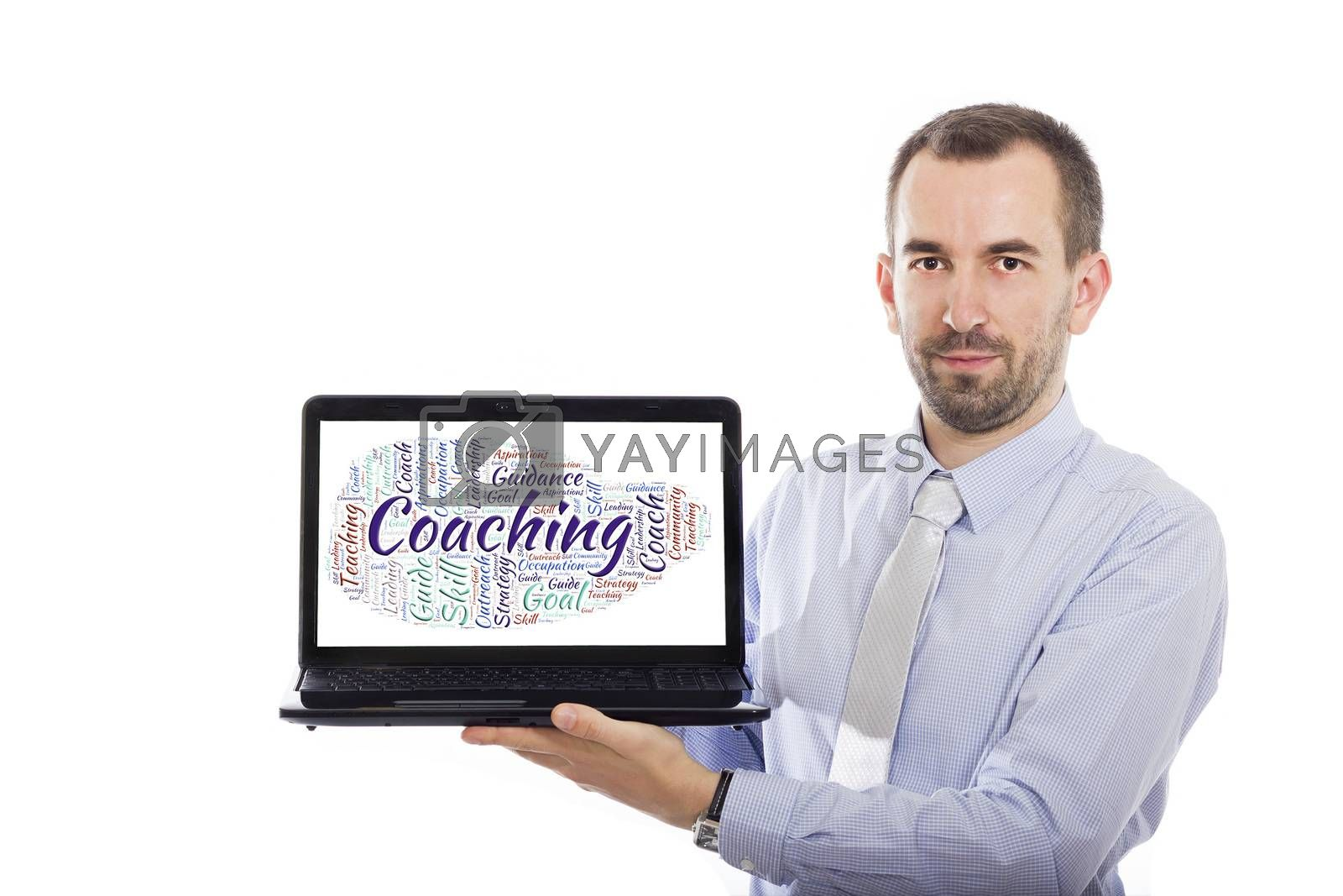 Businessman holding Laptop with Coaching concept - with isolated background