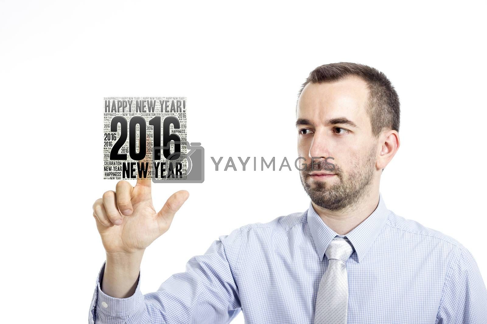 """Young businessman in blue shirt with small beard touching""""New Year 2016"""" word cloud"""