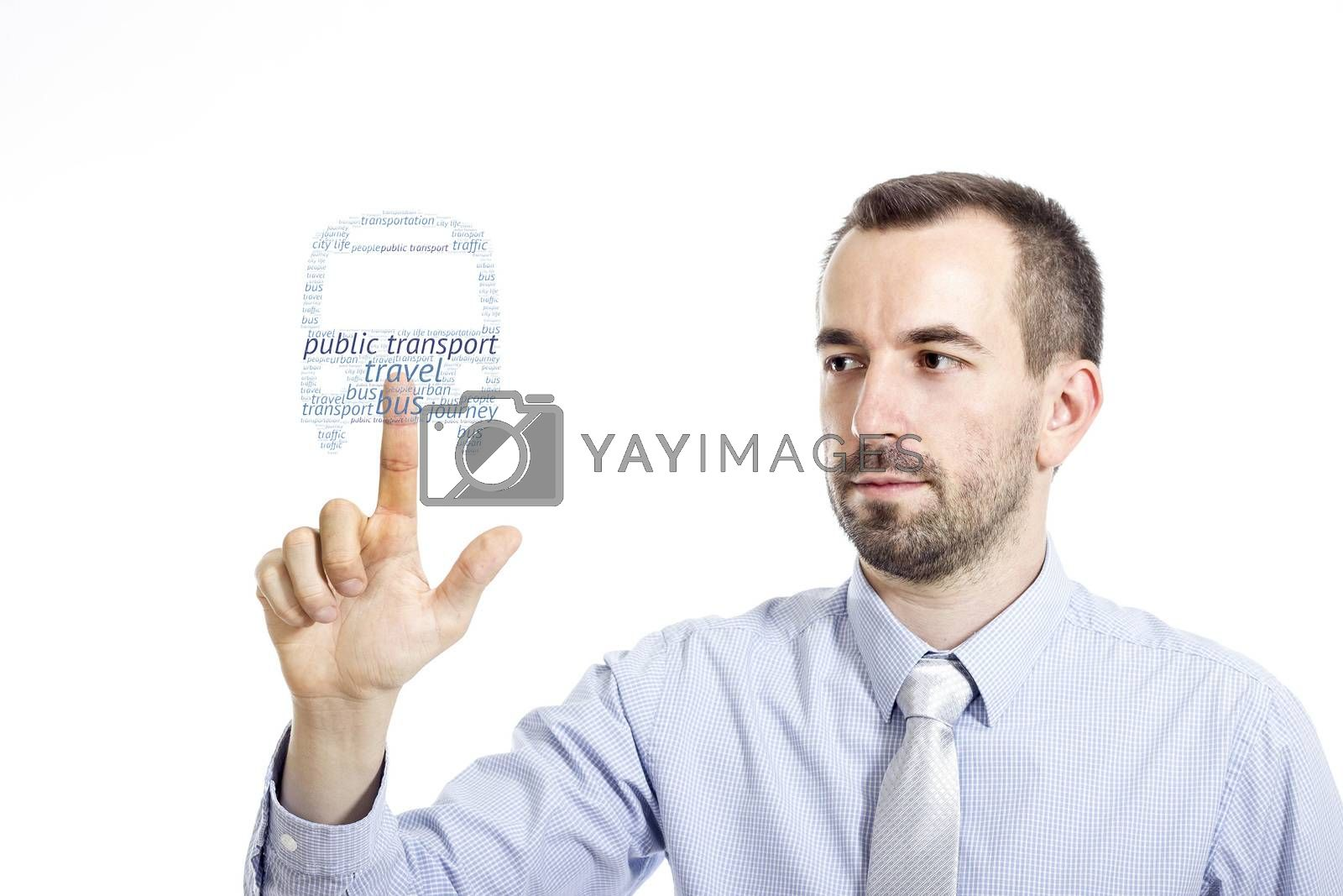 Young businessman in blue shirt with small beard touching