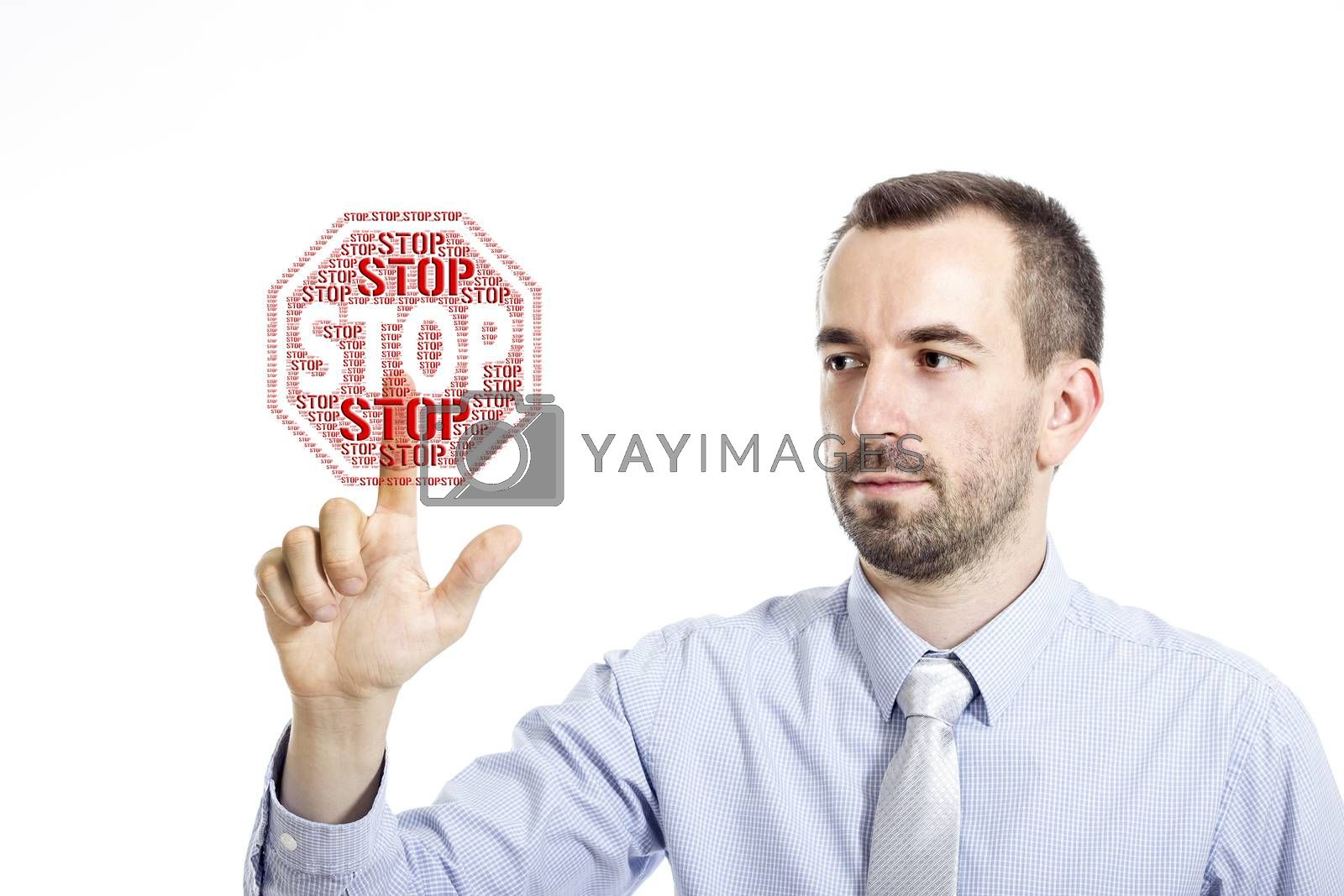 """Young buinessman touching """"STOP"""" word cloud - isolated on white background"""