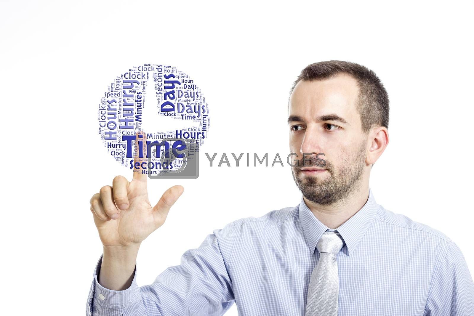 """Young buinessman touching """"Time Managementt"""" word cloud - isolated on white background"""