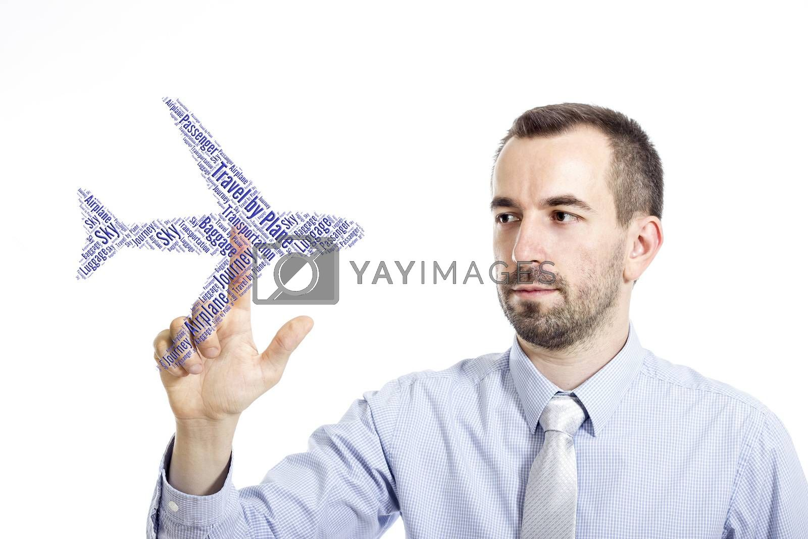 """Young buinessman touching """"Travel by Plane"""" word cloud - isolated on white background"""