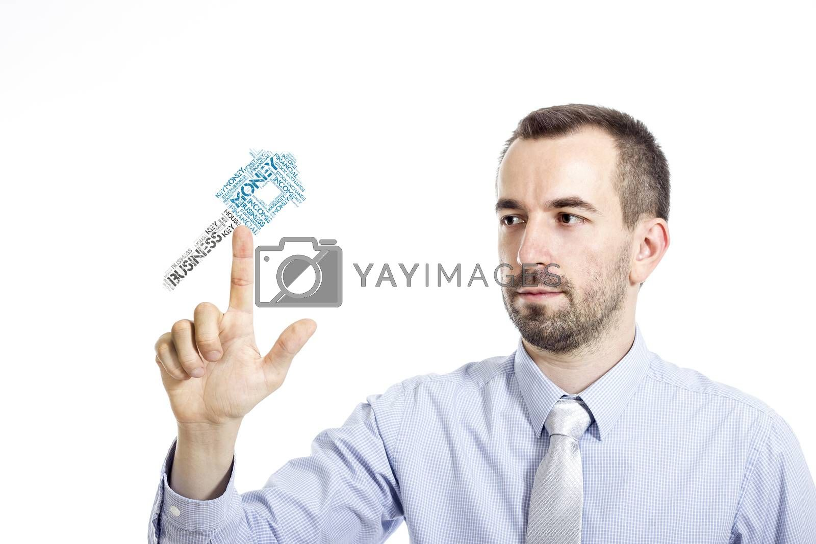 """Young buinessman touching """"Earn Money"""" word cloud - isolated on white background"""