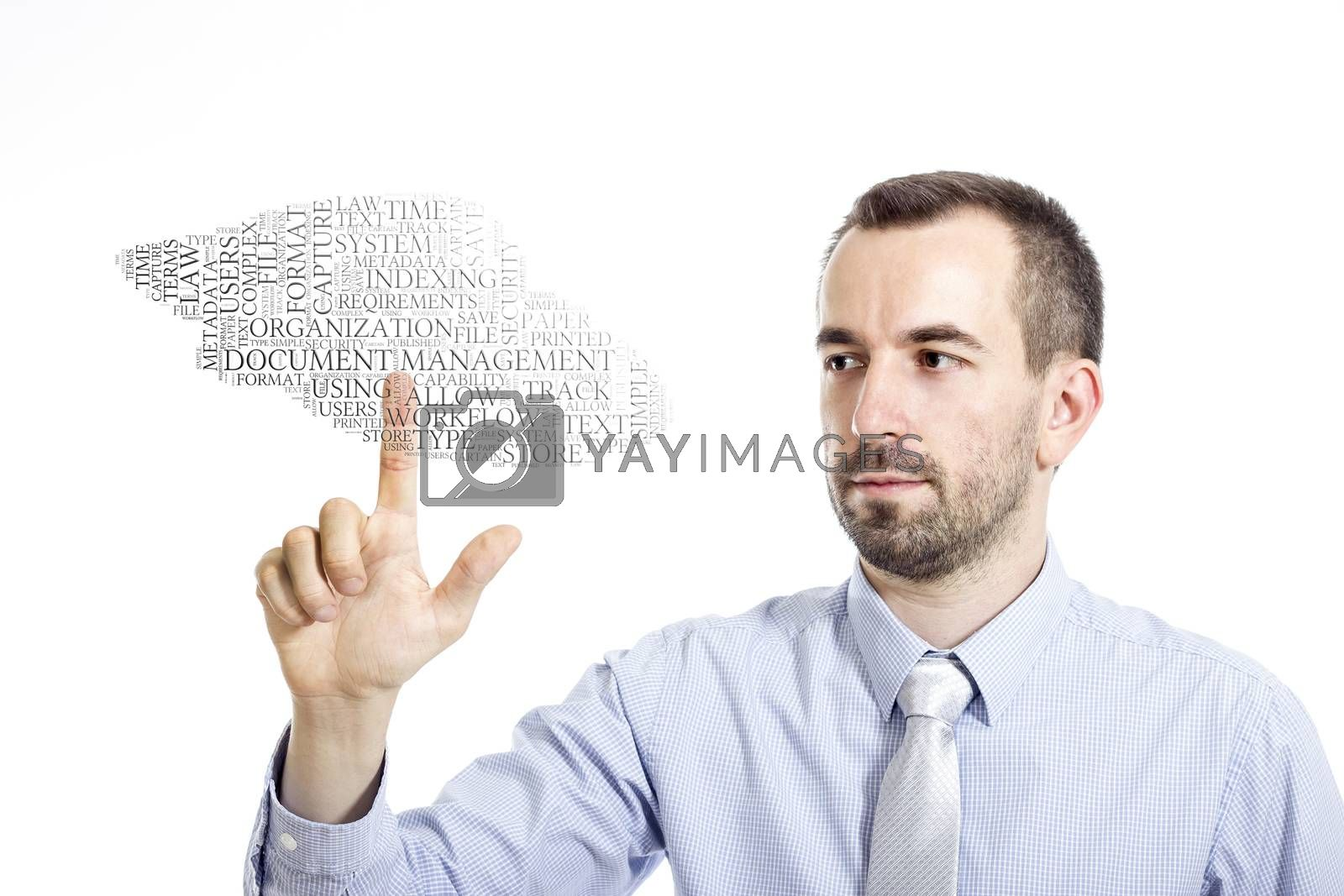 """Young buinessman touching """"Document Management"""" word cloud - isolated on white background"""