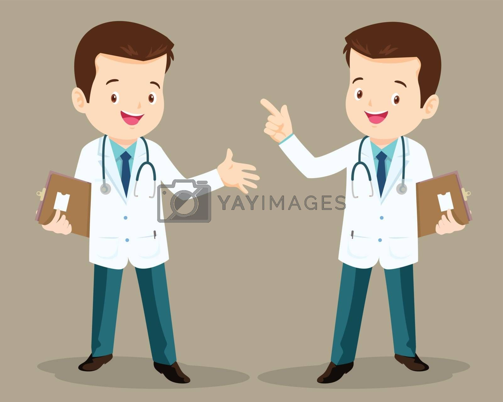 Smart doctor presenting in various action. character design.set of doctor character at hospital. health care. hospital icon.