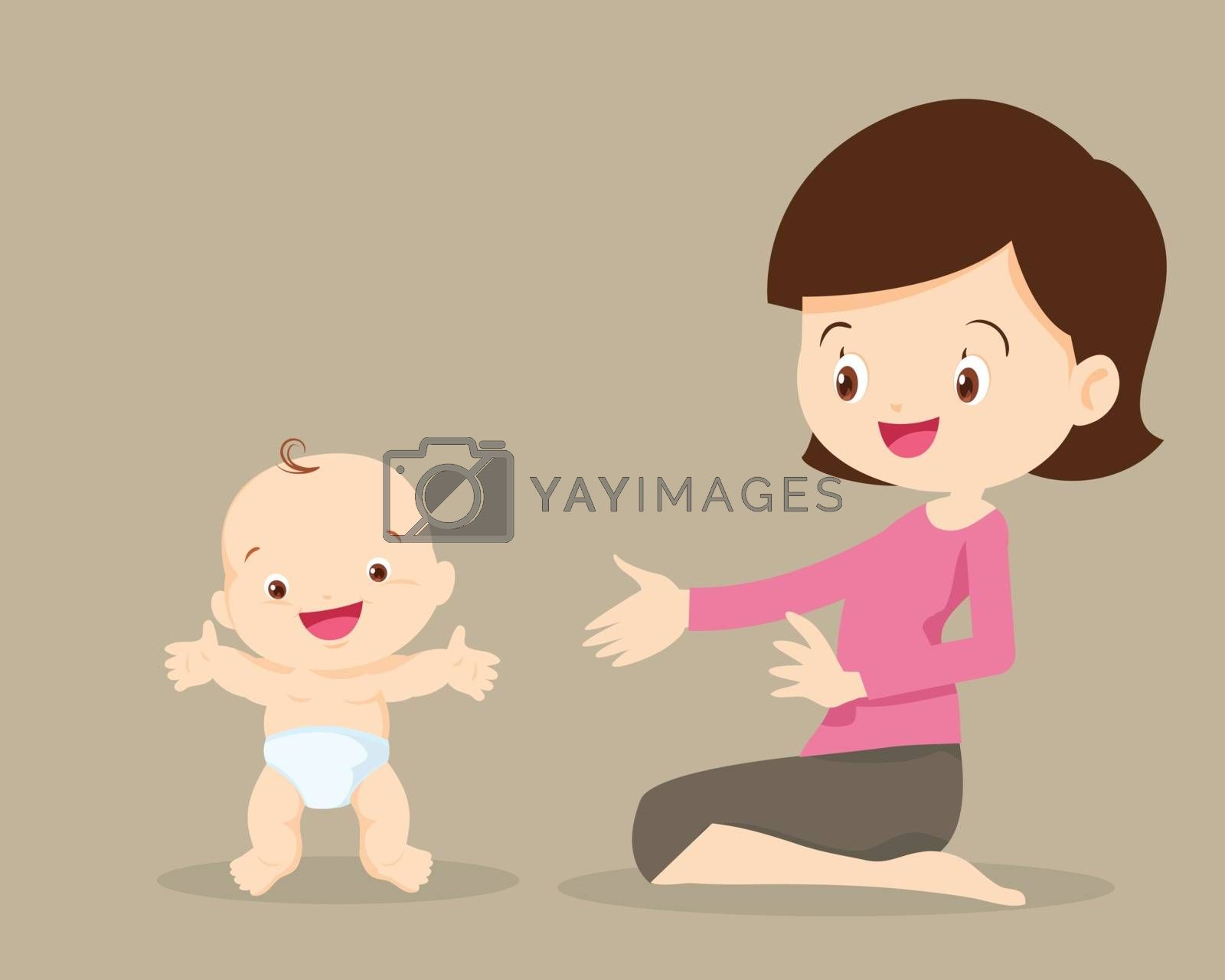 mother with baby toddler standing by wat cartoon