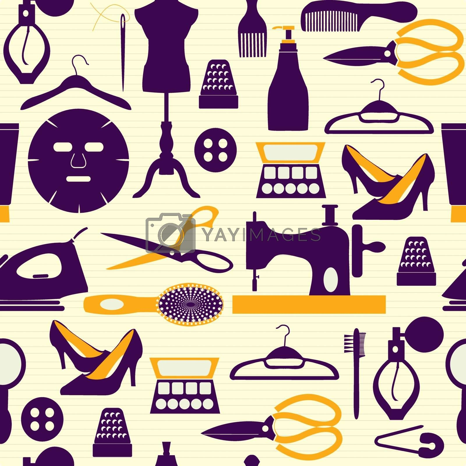Vector Seamless pattern Fashion and beauty themed background. Fashion and sewing items icon set  - Illustration