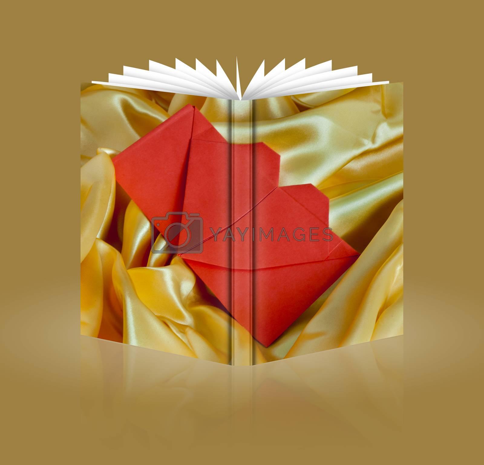 book of  orange heart for wedding invitation card