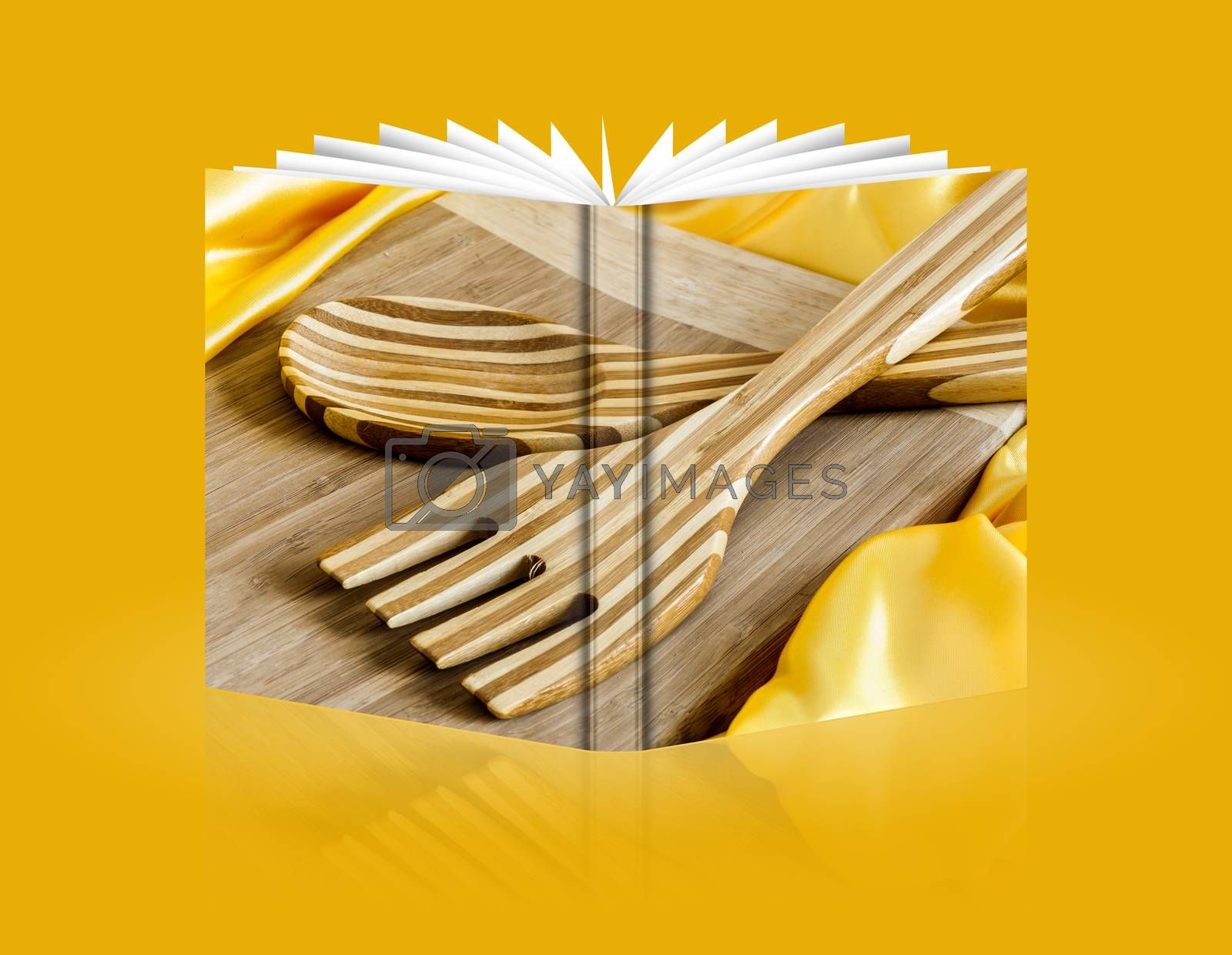 book of cutting board and utensils in bamboo wood