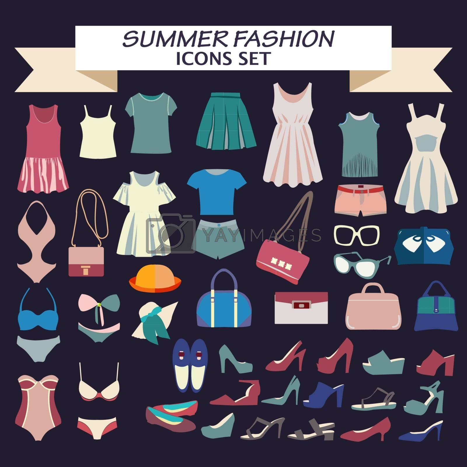 Vector  Fashion beautiful collection of woman clothes  and accessories, vintage style. Fashion boutique  for design fashion look - Illustration