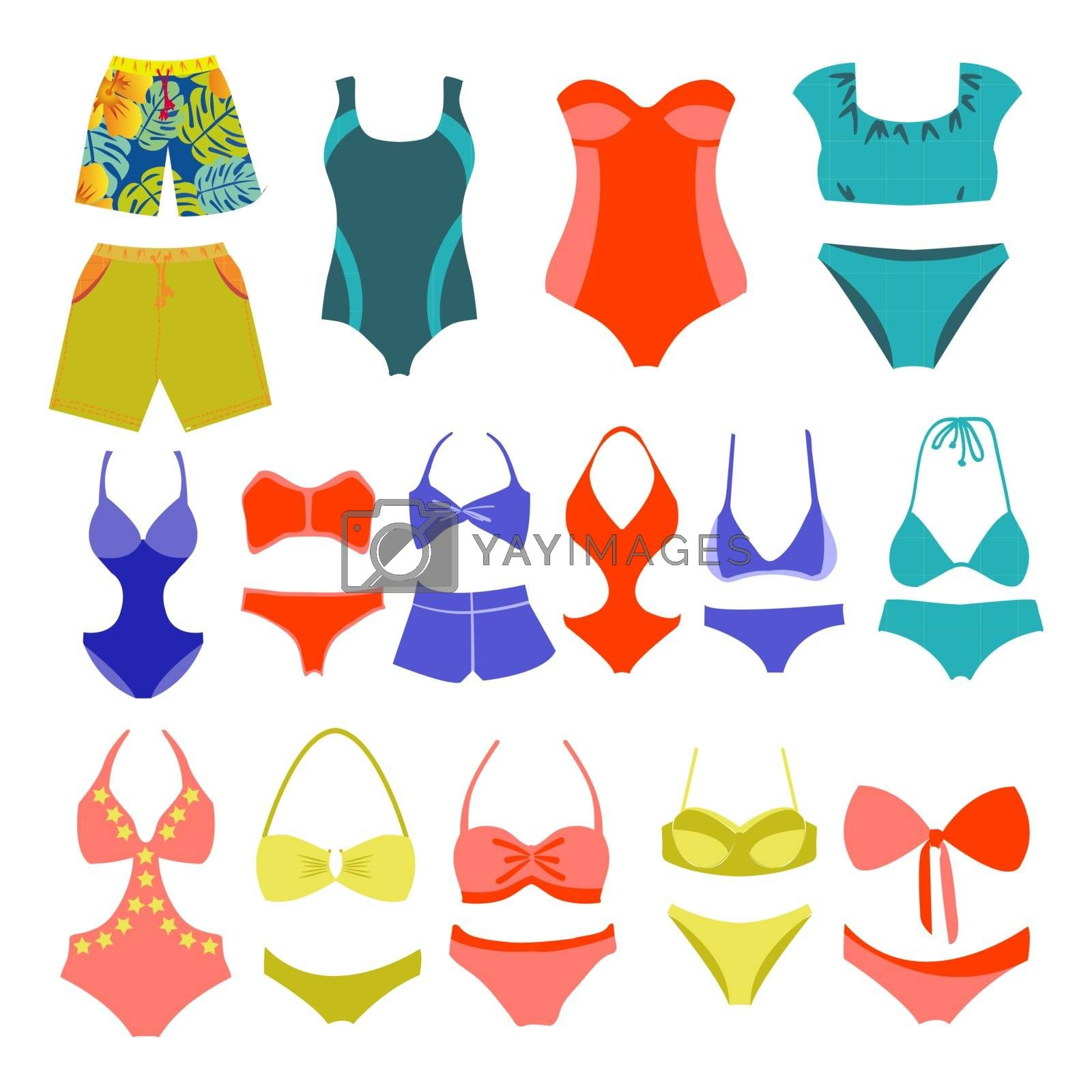 Vector fashion Collection Swimming suits  Summer wear-illustration