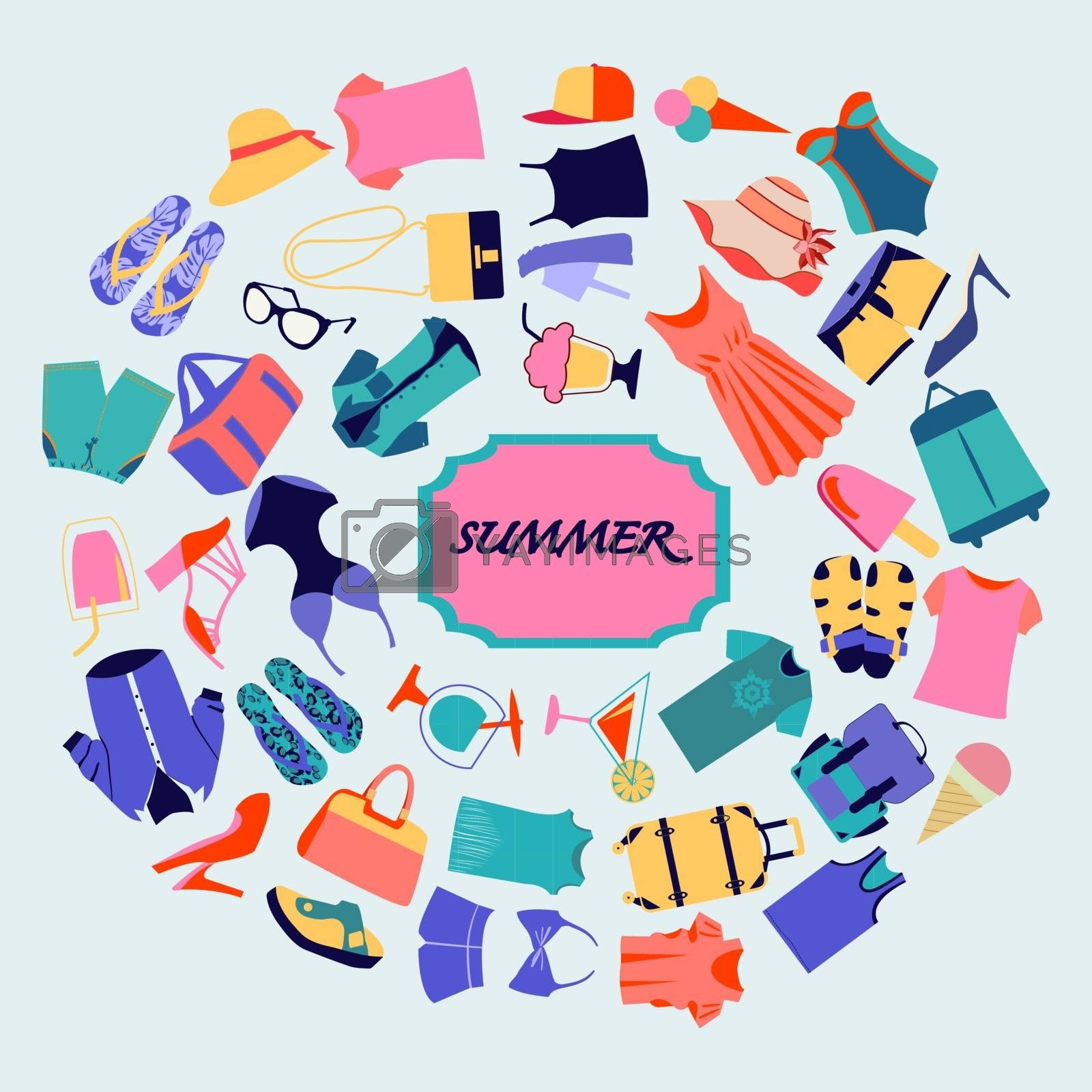 Vector colorful illustration of  summer shopping theme. Fashion boutique Summer sales background