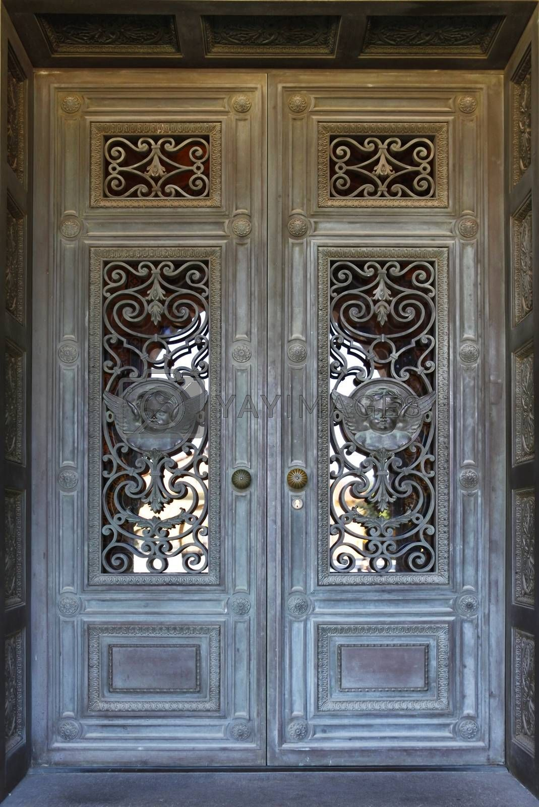 Beautiful door in Mission church at Stanford University in California