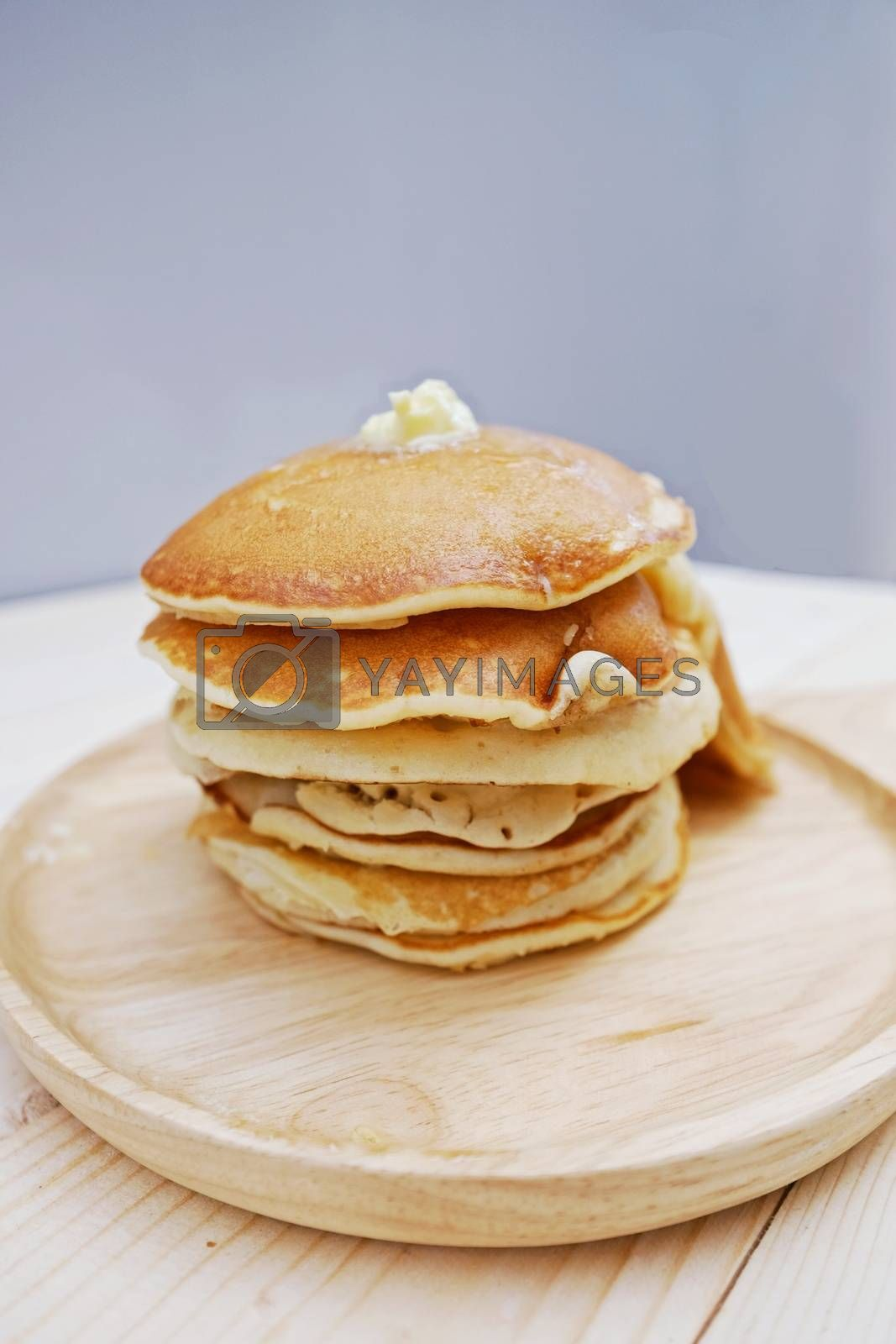Pancakes  in dish on Table wood