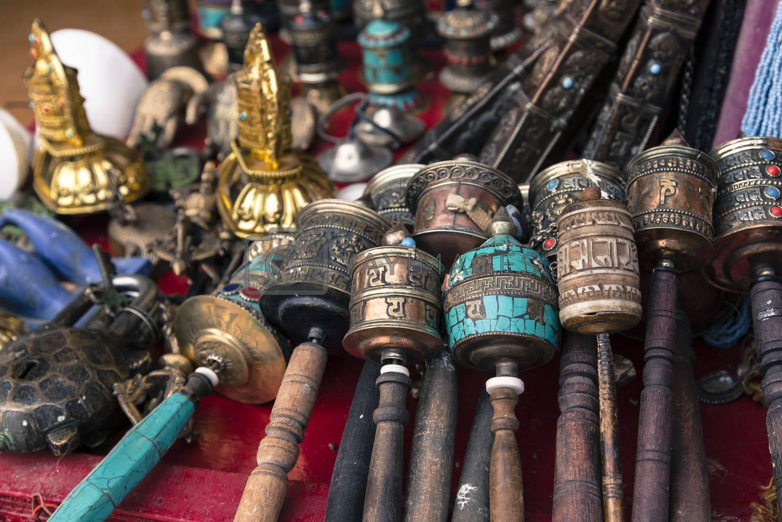 Traditional tibetan praying wheels in Nepal.
