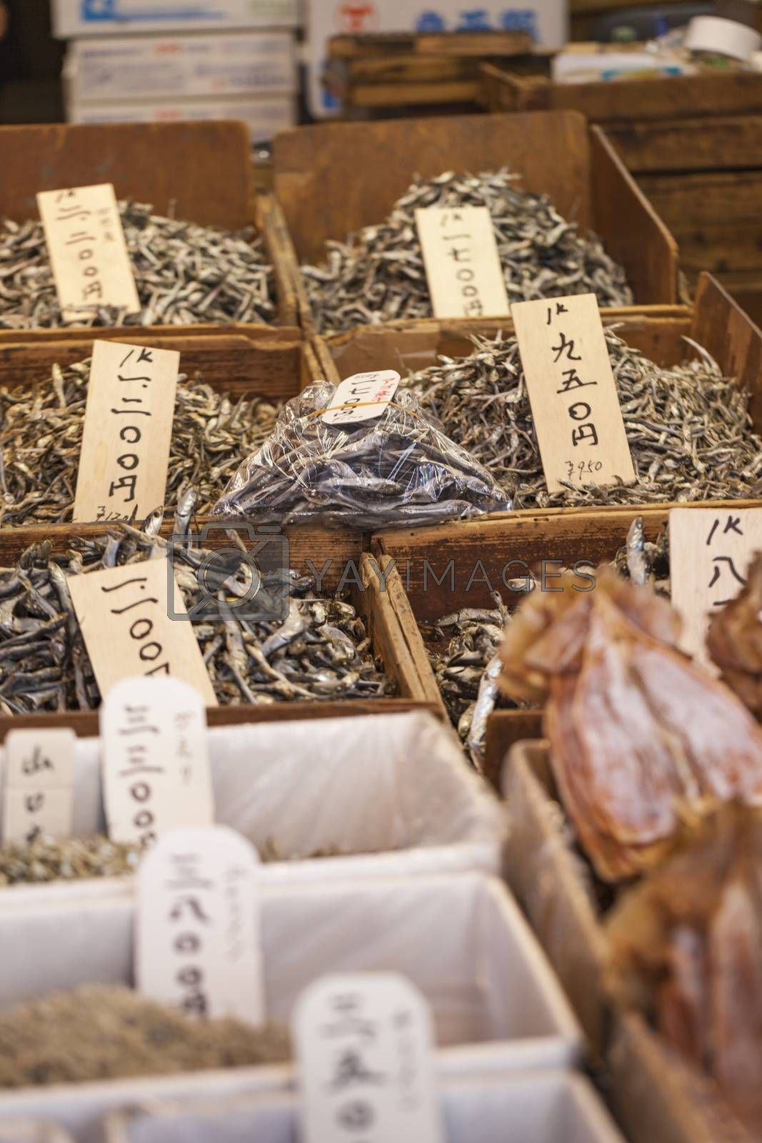 Dried fish, seafood product at market from Japan.