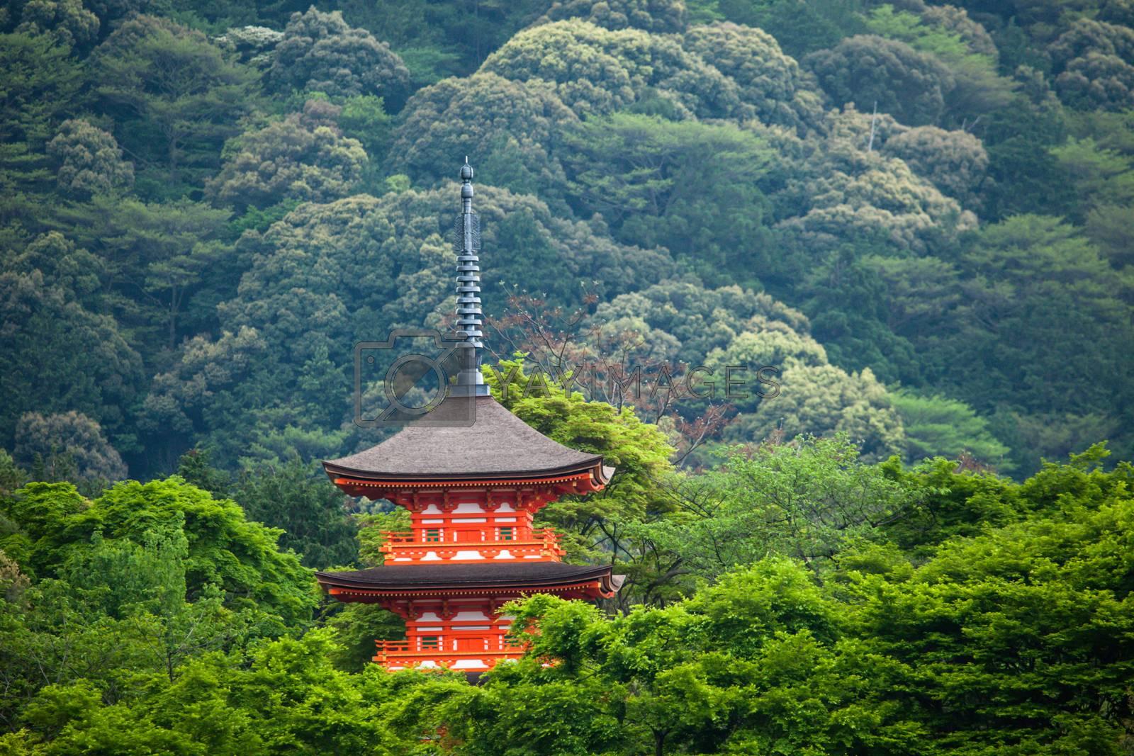 Three-storied pagoda at Taisan-ji Temple nearby Kiyomizu-dera Temple in Kyoto