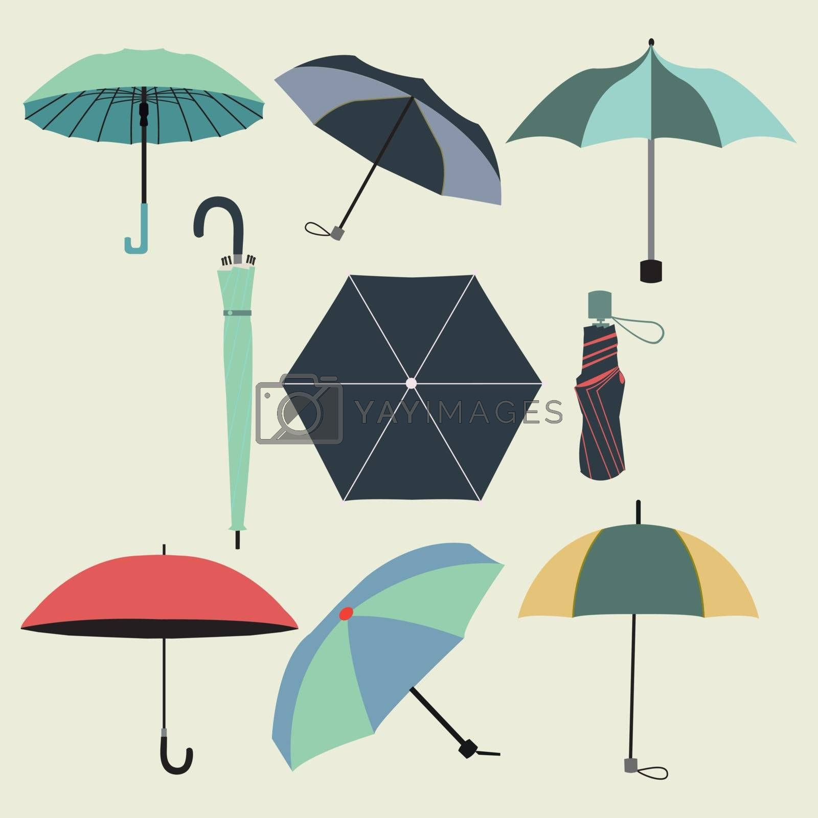 Vector collection of different fashion  umbrellas in flat style- illustration