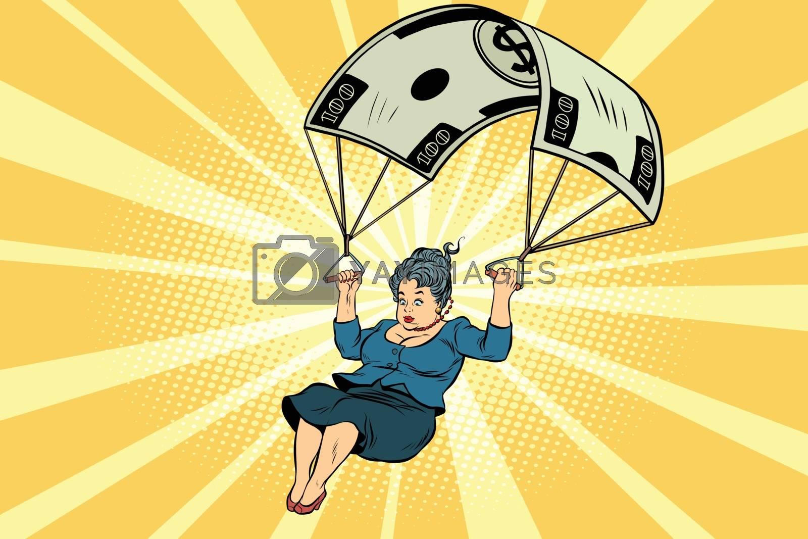 woman Golden parachute financial compensation in the business. Comic book vintage pop art retro style illustration vector