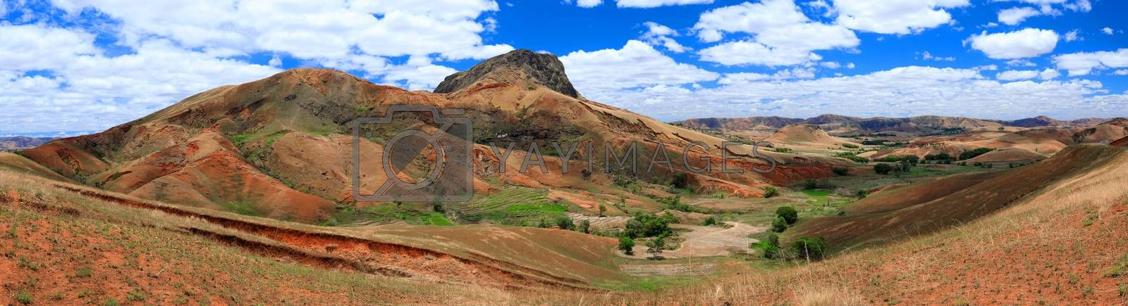Madagascar highland countryside landscape. Deforestation in Madagascar creates agricultural or pastoral land but can also result ecology problem with soil and water. Madagascar Mahajanga Province