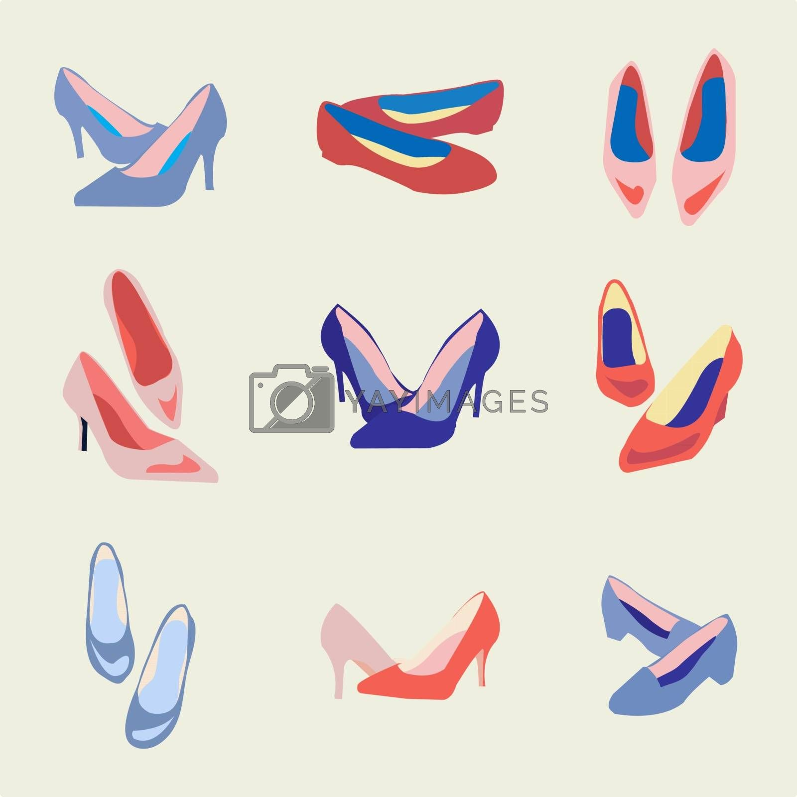 Vector collection of fashion shoes in trendy colors icon set - illustation