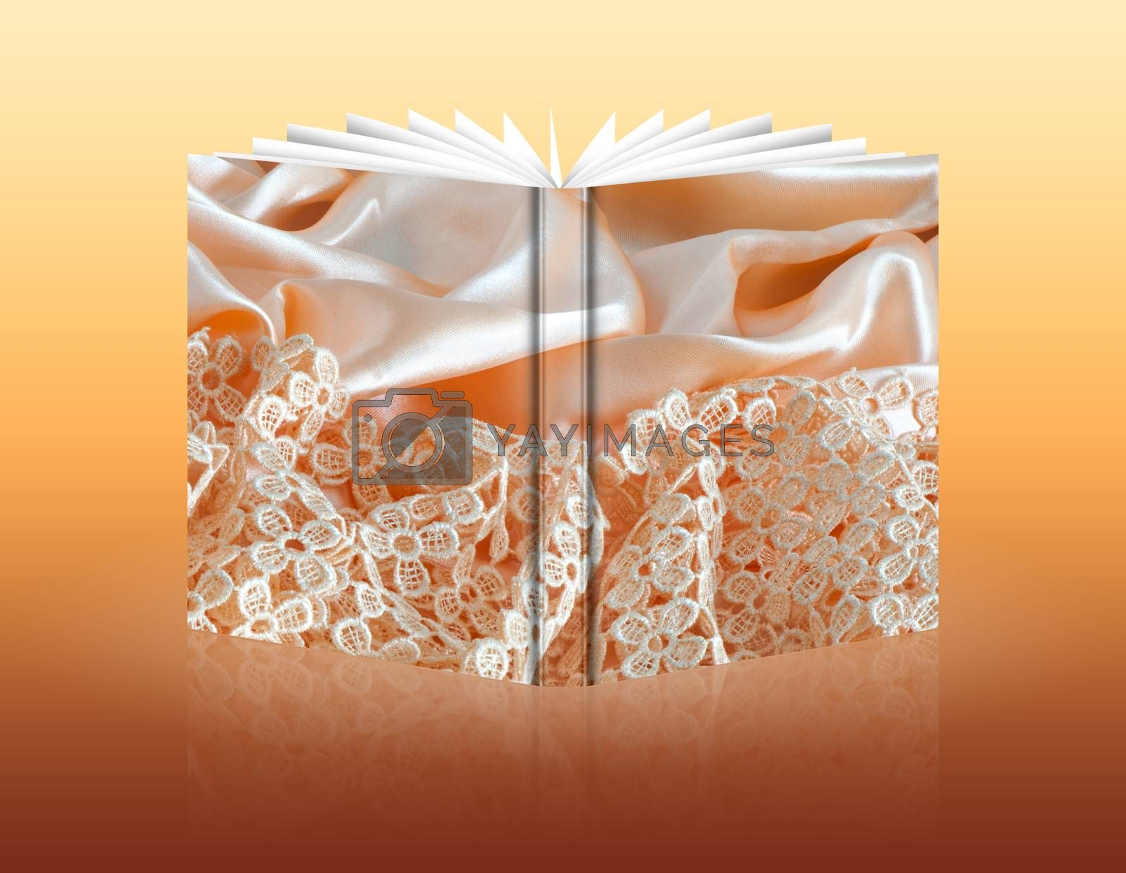 book of a elegant background with a colorful fabric