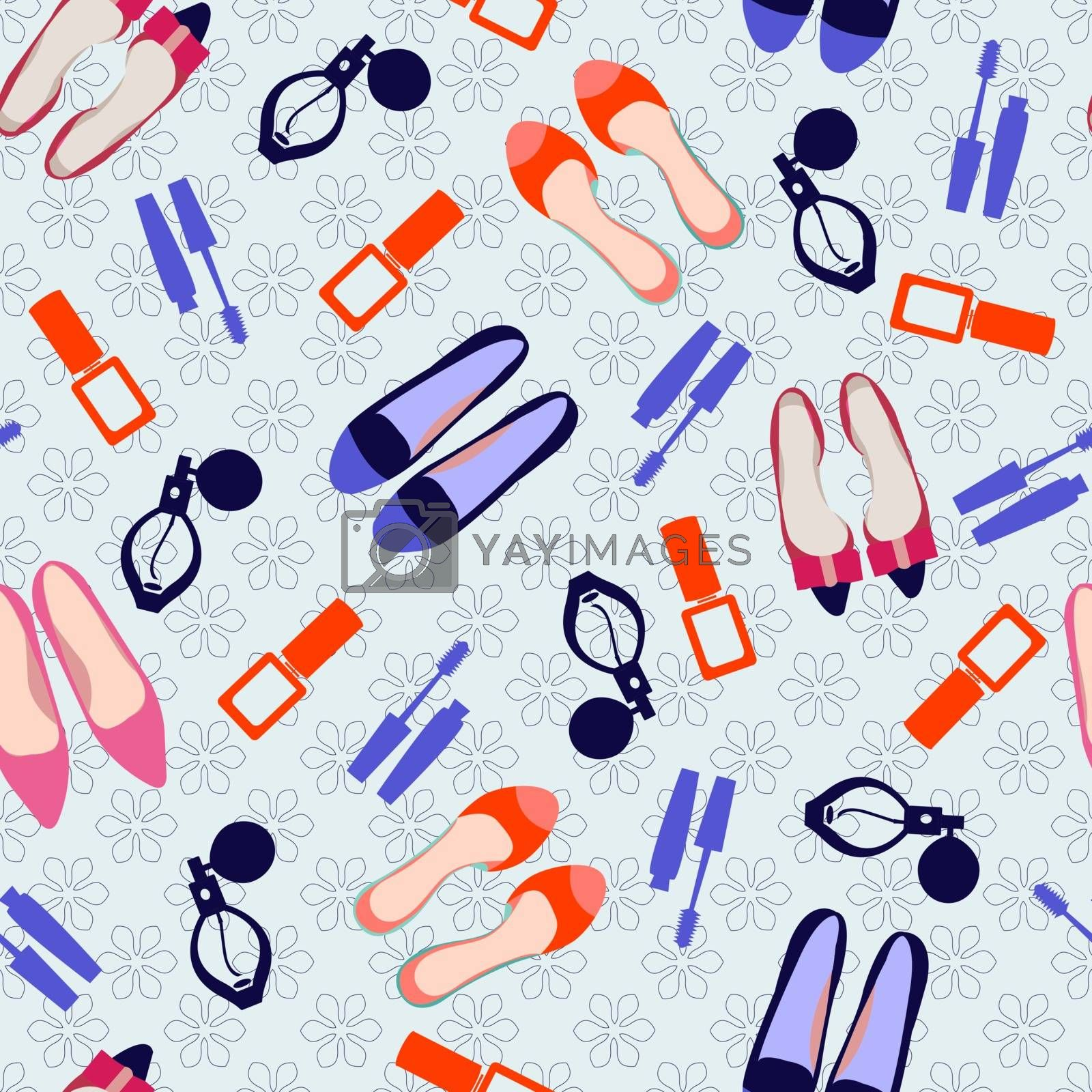 Vector Seamless fashion accessories pattern illustration with make up and shoes