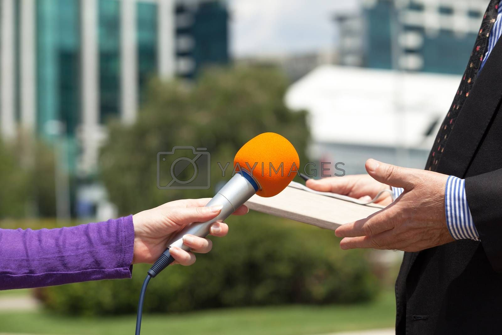 Female reporter or journalist making media interview with businessman