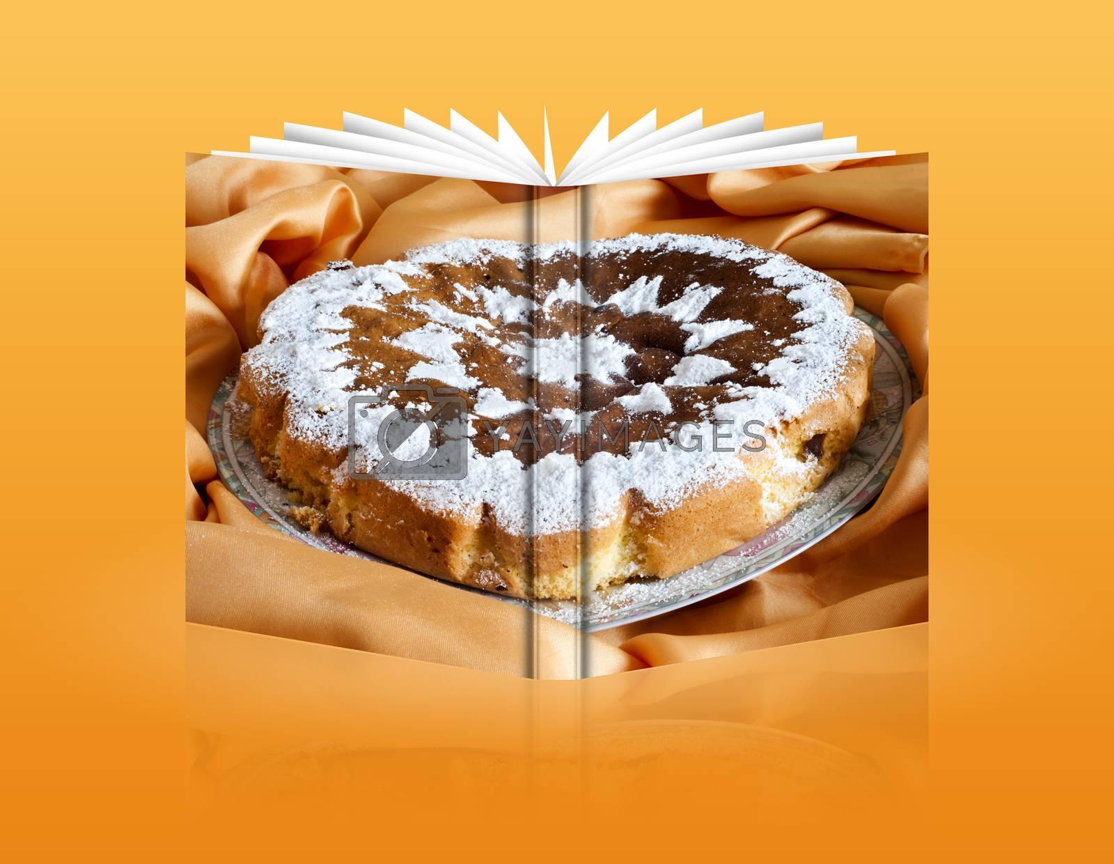 a book of an orange homemade cake