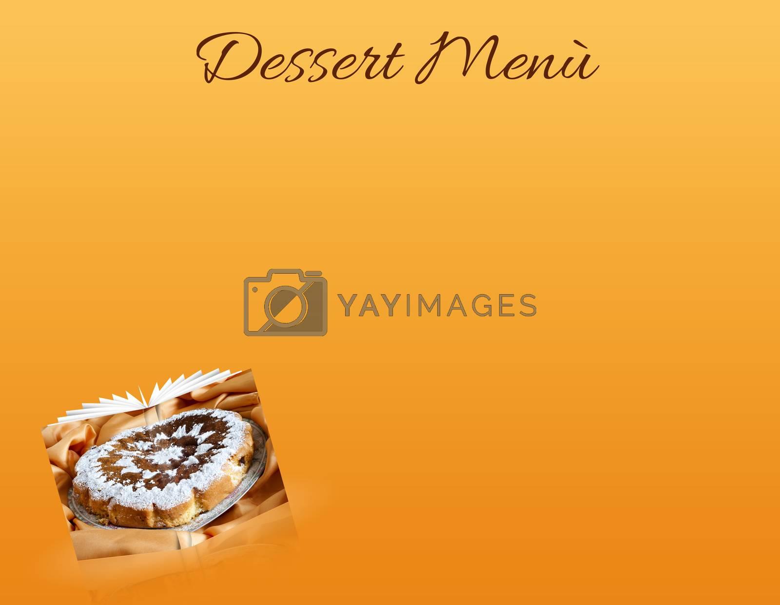 a menù of an delicious homemade cake