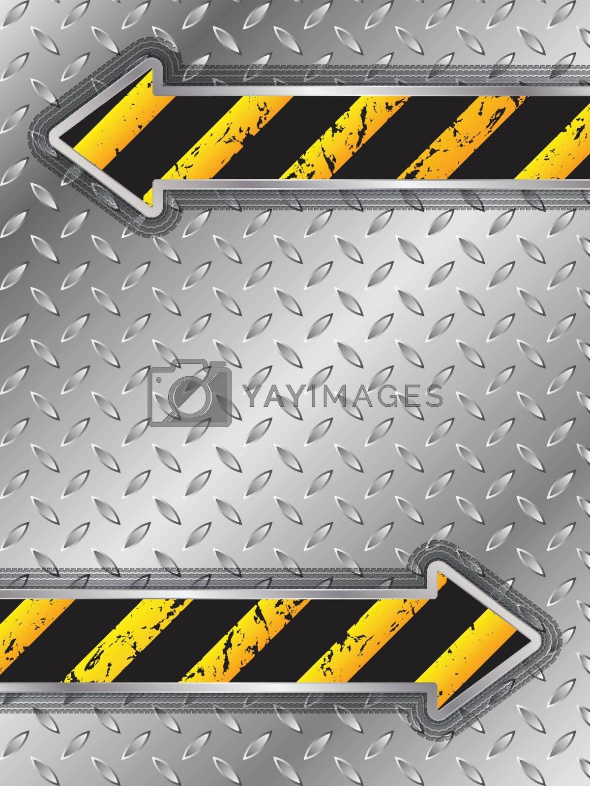 Abstract industrial brochure design with tire tracks around arrow shapes