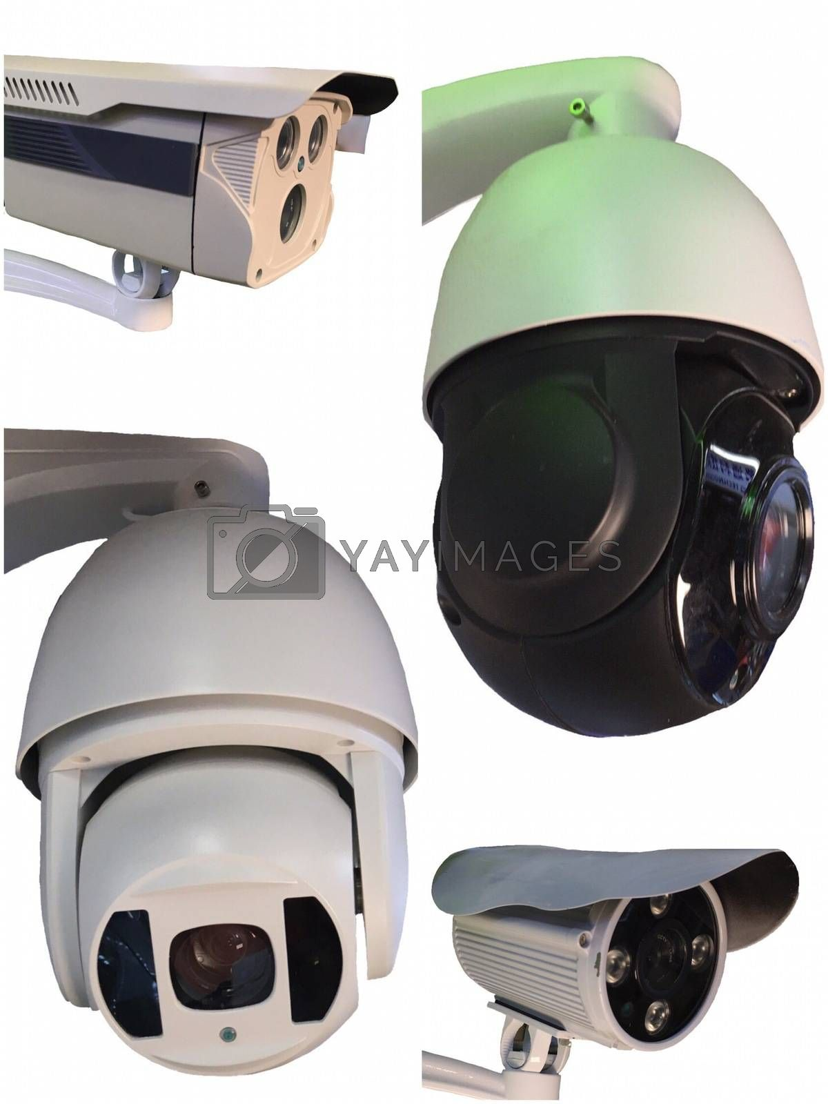 Outdoor CCTV Group of monitoring, security cameras  isolated on white background.