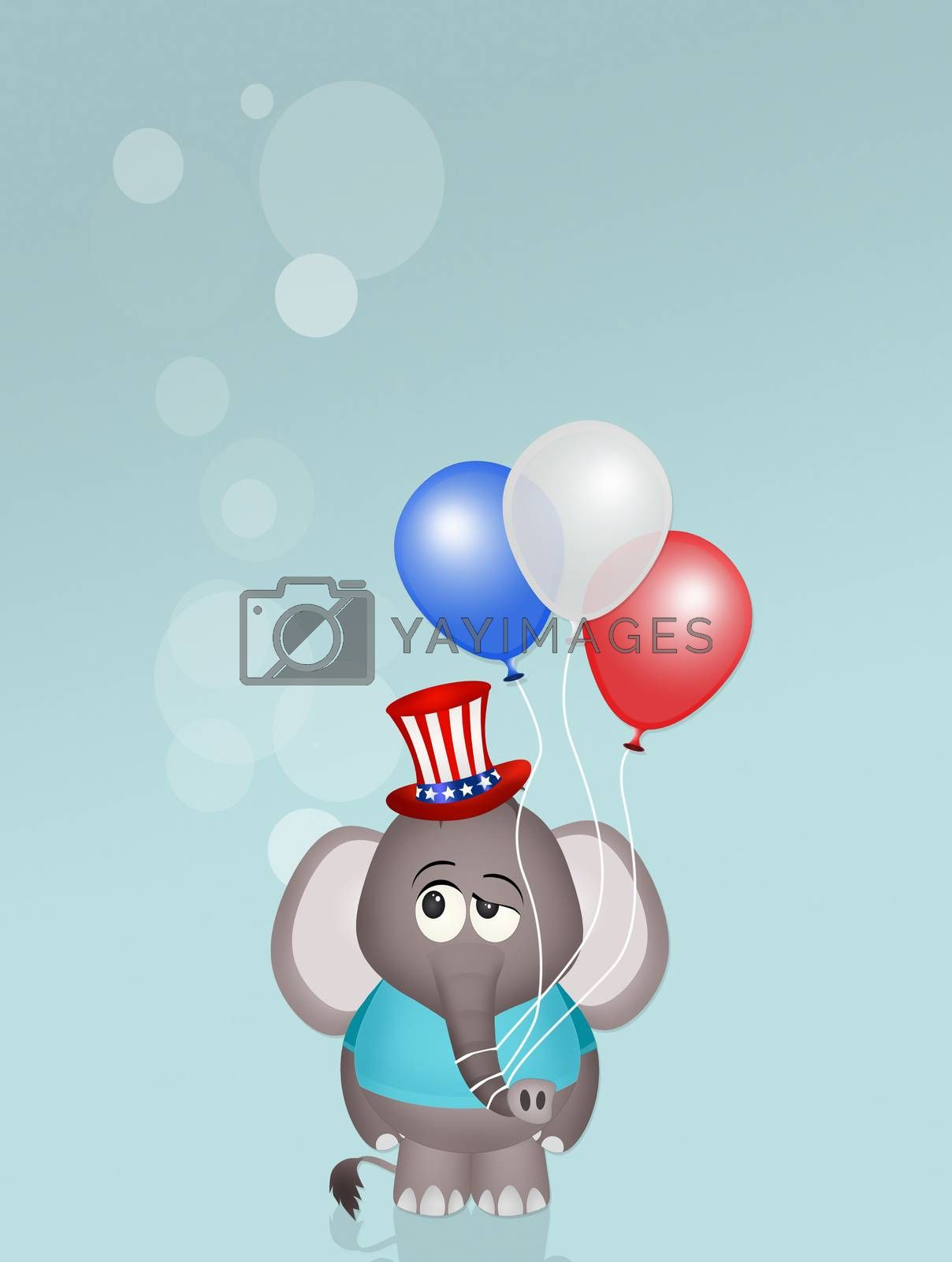 elephant with balloons for July 4th by adrenalina