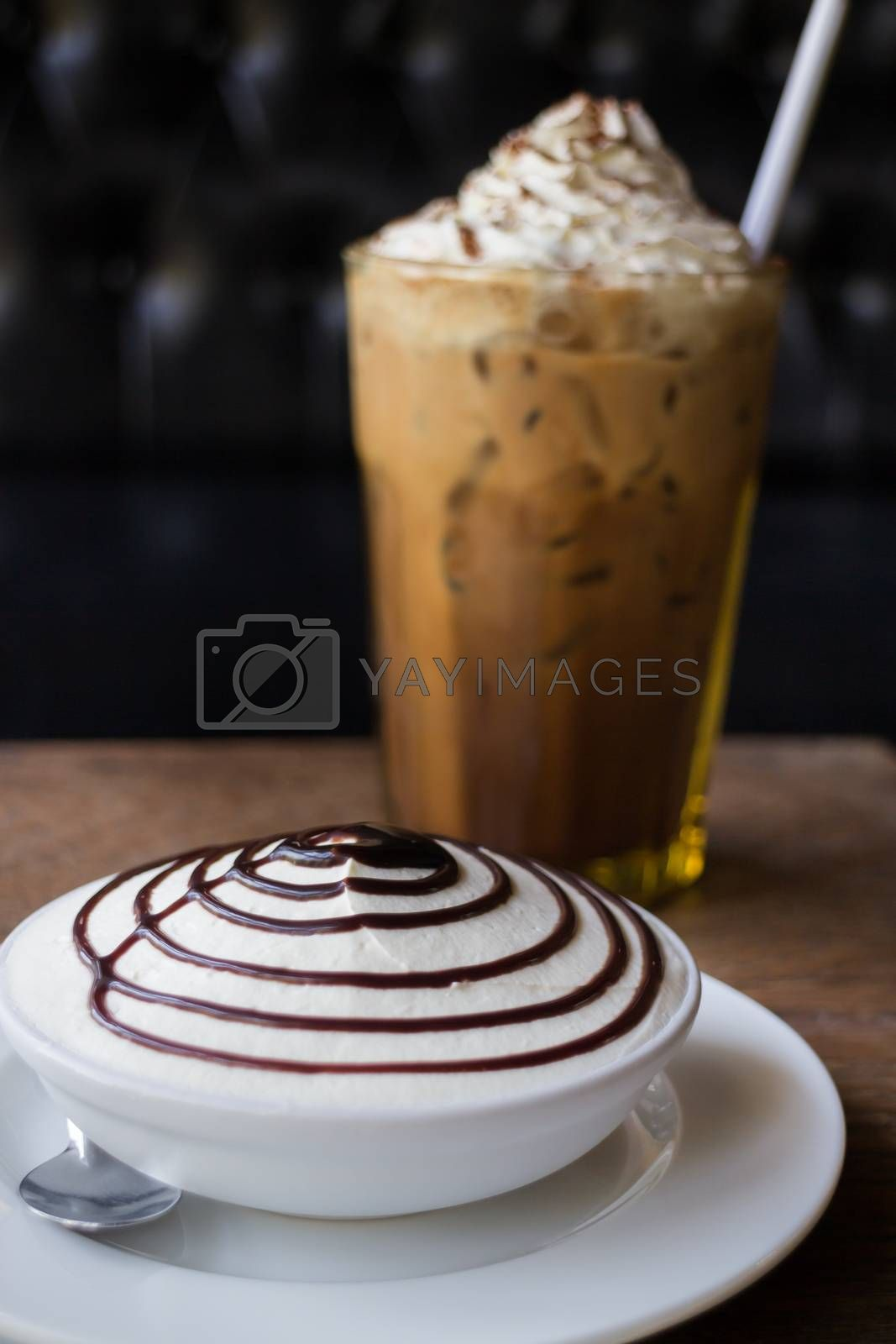 Set Of Iced Coffee And Banoffee Pie, stock photo