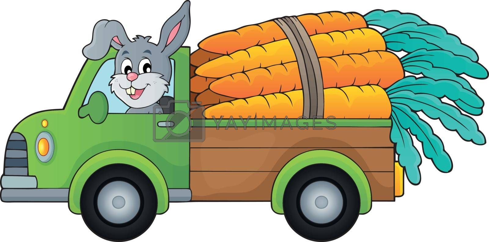 Truck with carrots theme image 1 - eps10 vector illustration.