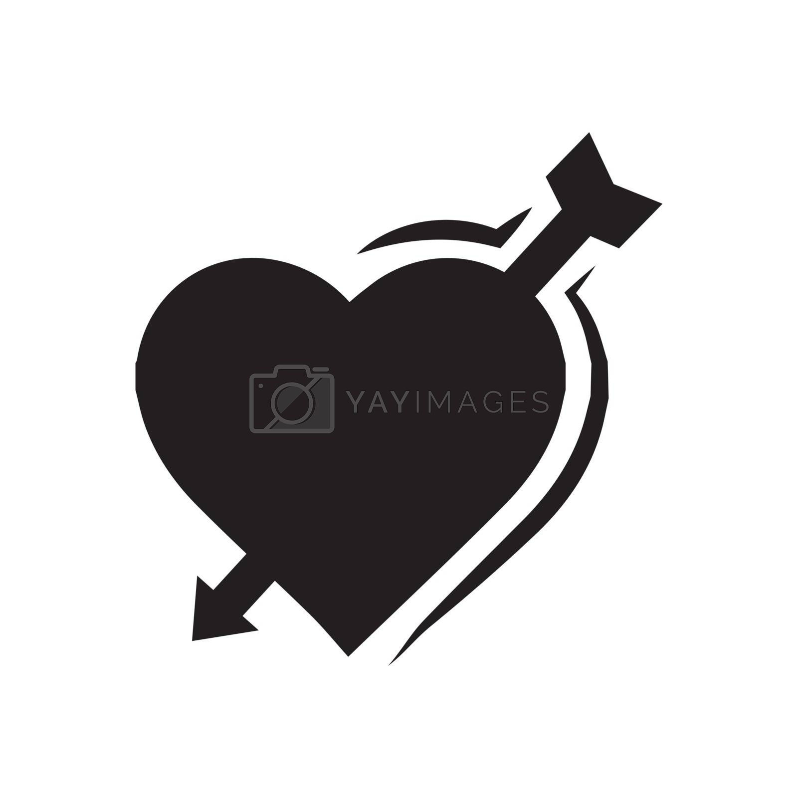 valentines heart arrow black icon