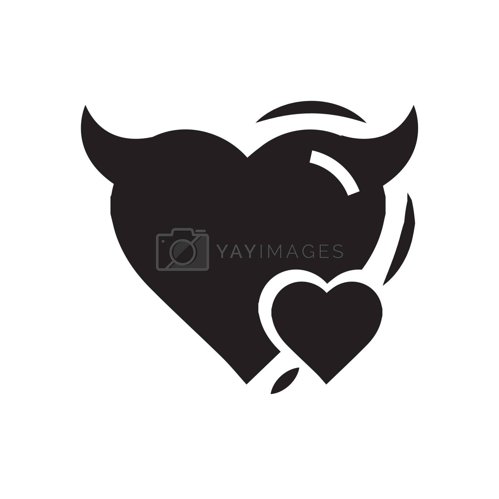 Heart Mini of Devil love black color