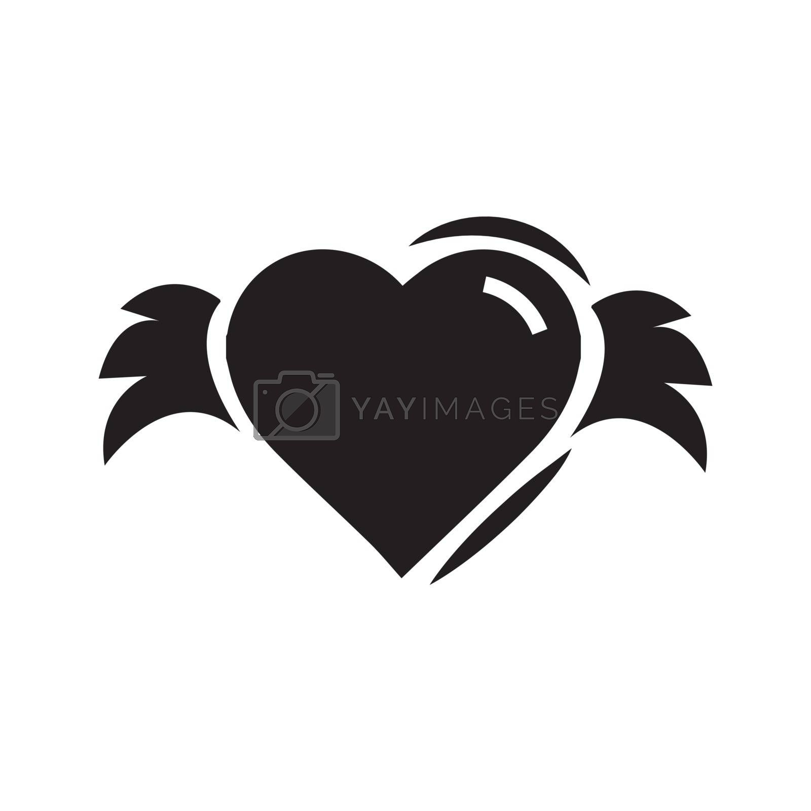 Hearts with wings black color