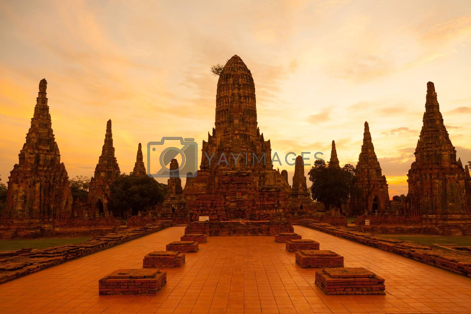 Wat Chaiwattanaram, the historical temple in Ayutthaya, Thailand