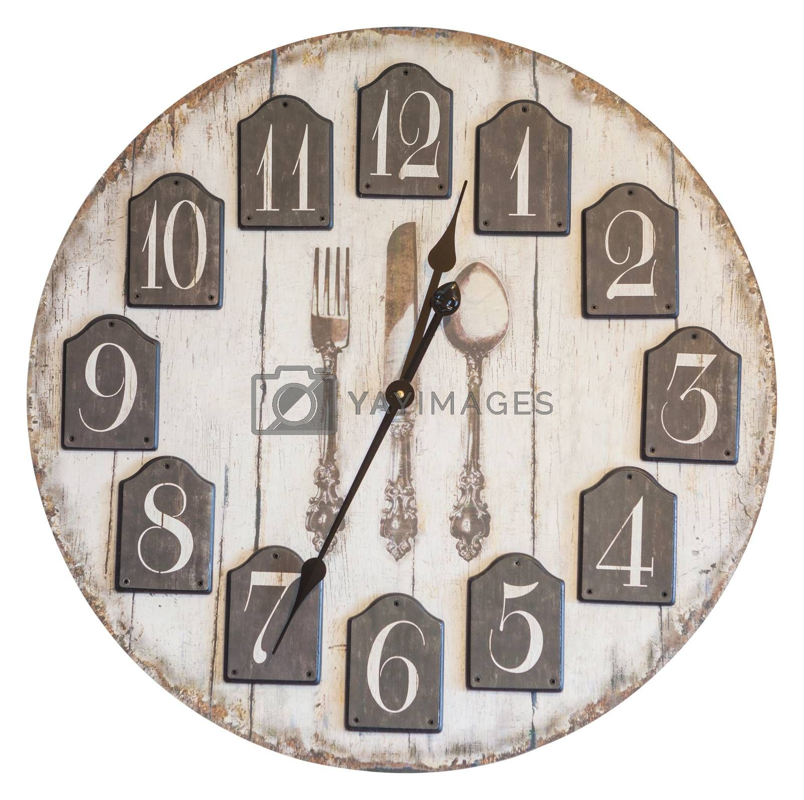 Retro vintage wall clock isolated on white background