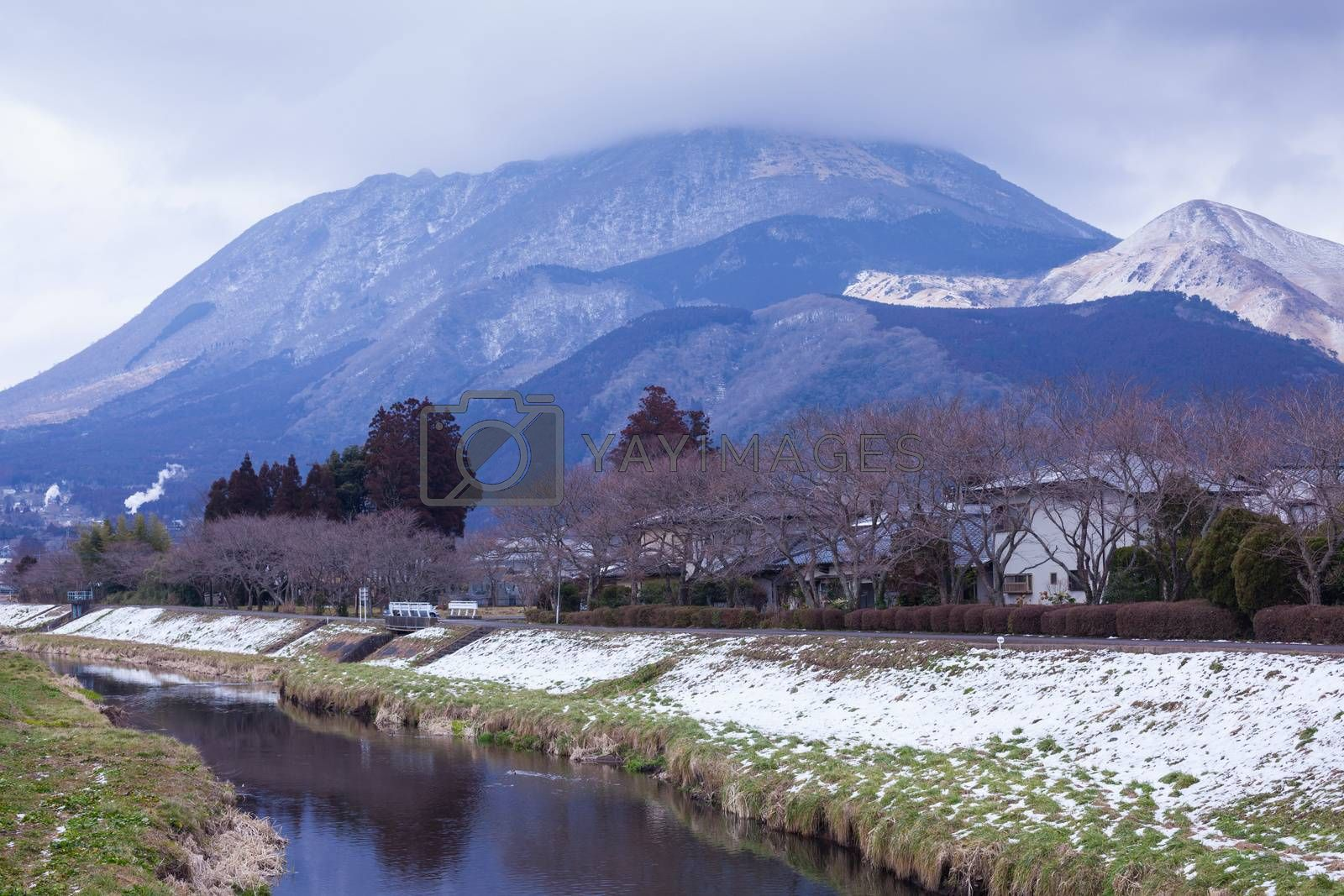 Small village with mountain and river in Yufuin, Japan