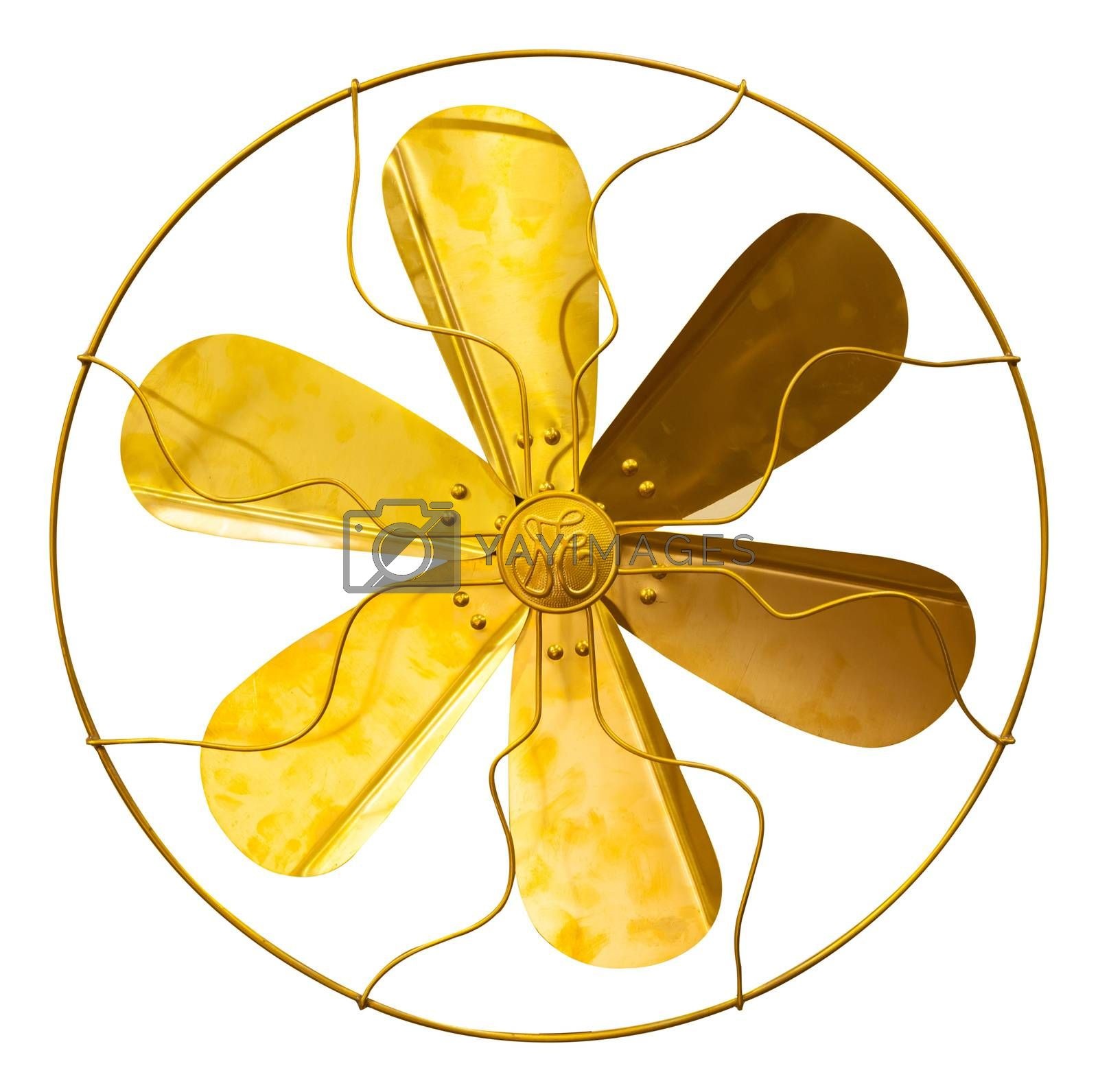 Beautiful vintage gold antique brass fan isolated on white