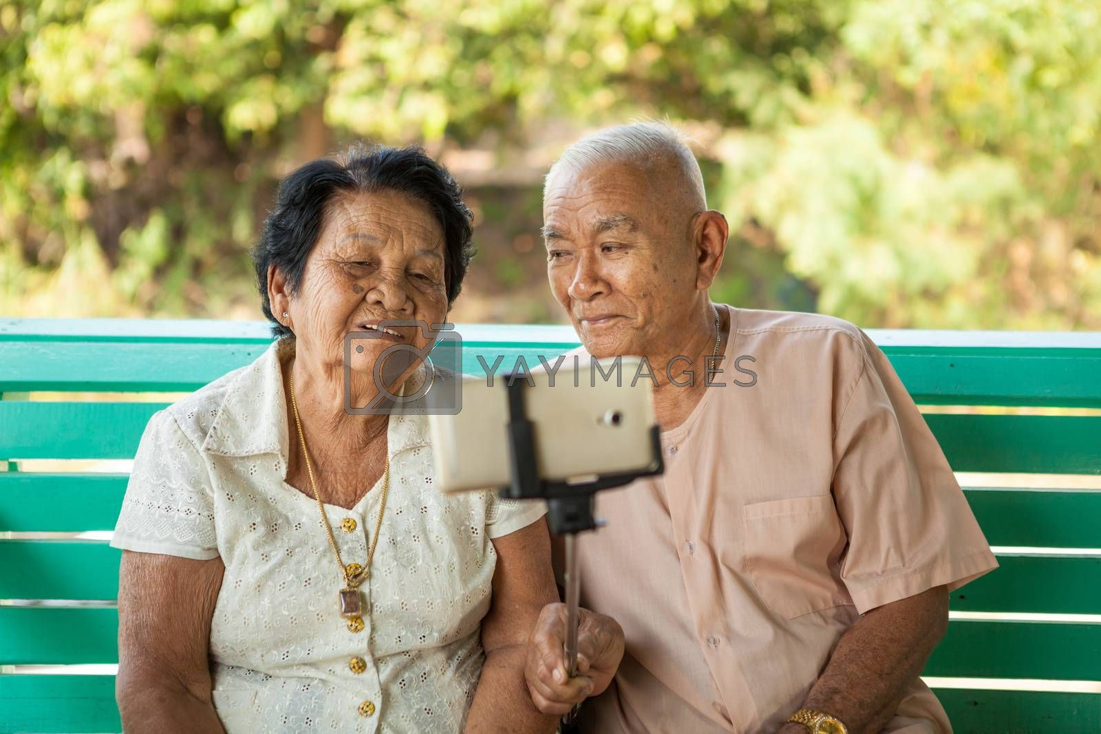 Happy senior couple posing for a selfie at home